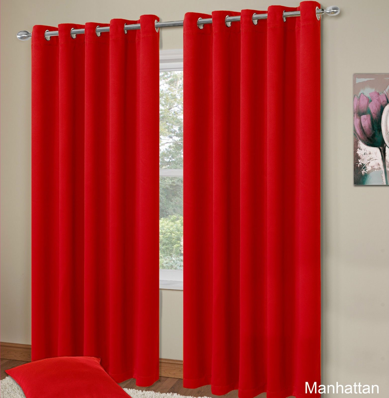 Plain Red Colour Thermal Blackout Bedroom Livingroom Readymade With Regard To Thermal Bedroom Curtains (Image 13 of 15)