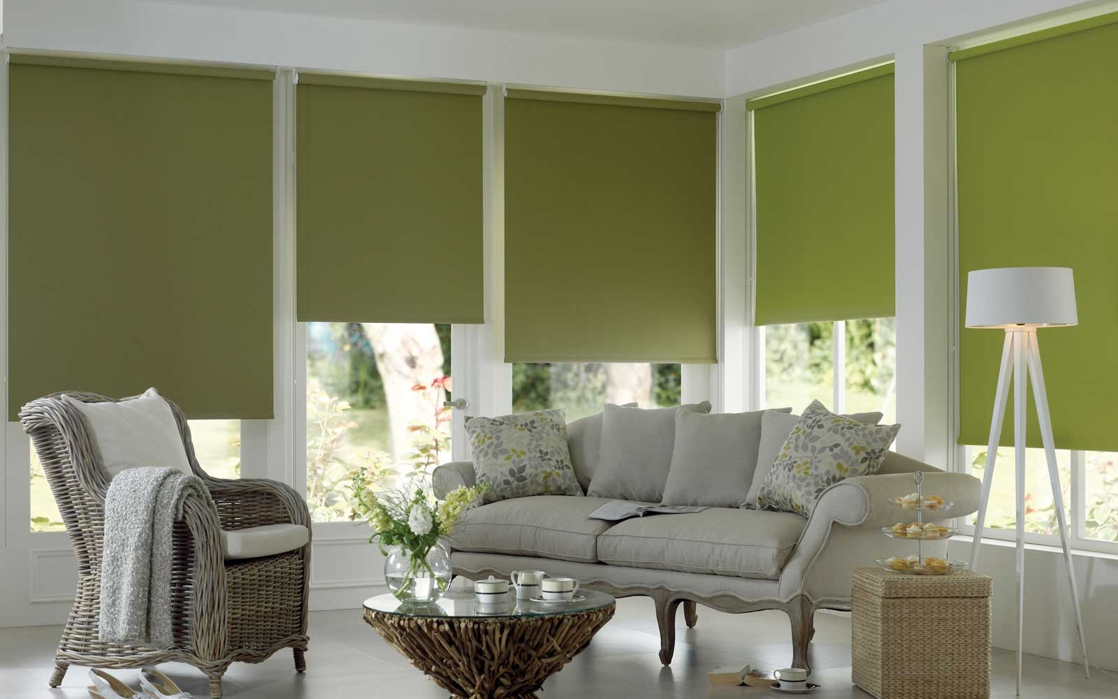 Plain Roller Blind Green Surrey Blinds Shutters Pertaining To Plain Roller Blinds (Image 7 of 15)
