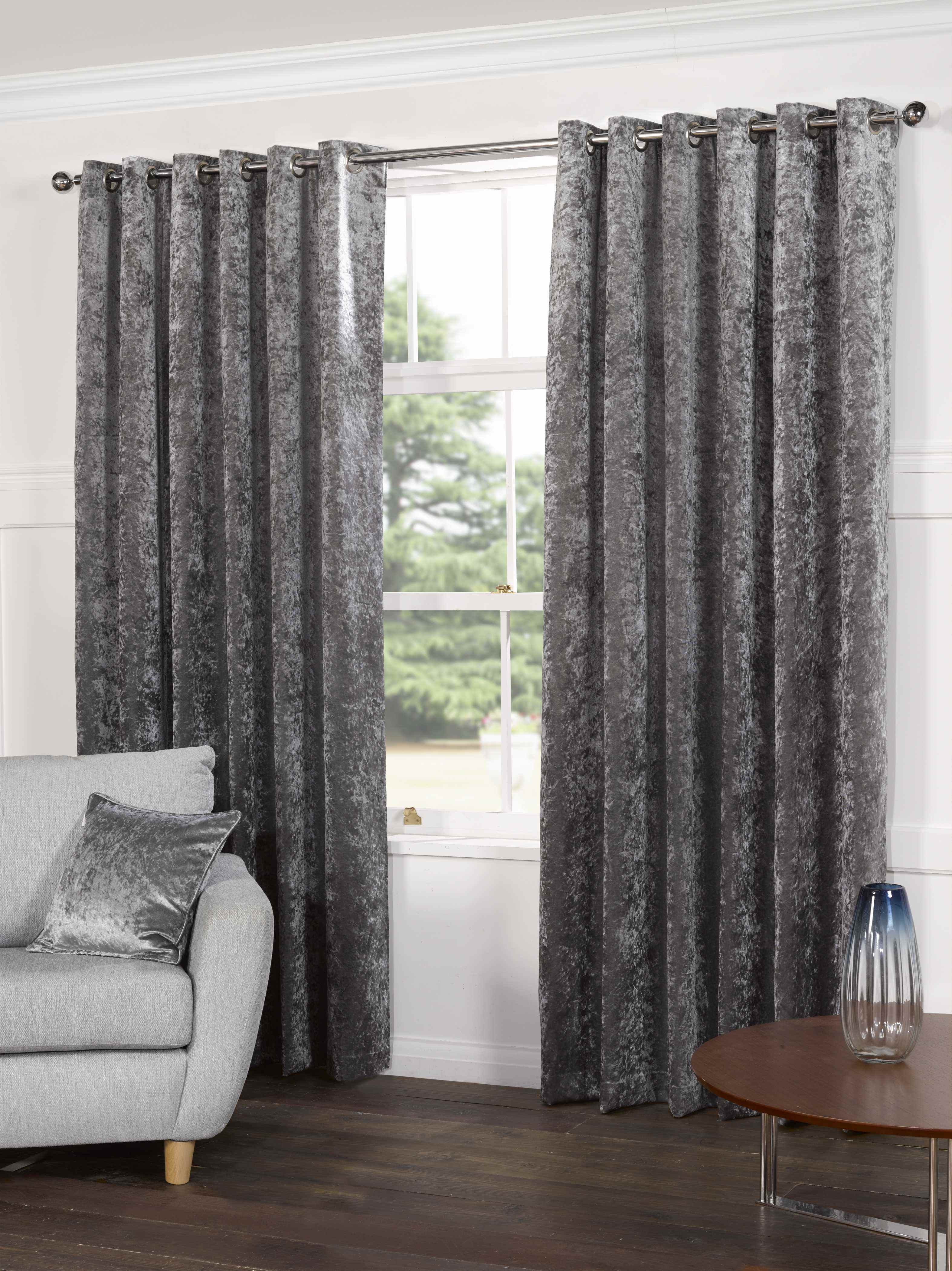 Plush Crushed Velvet Lined Ready Made Eyelet Ring Top Plain Intended For Velveteen Curtains (Image 10 of 15)