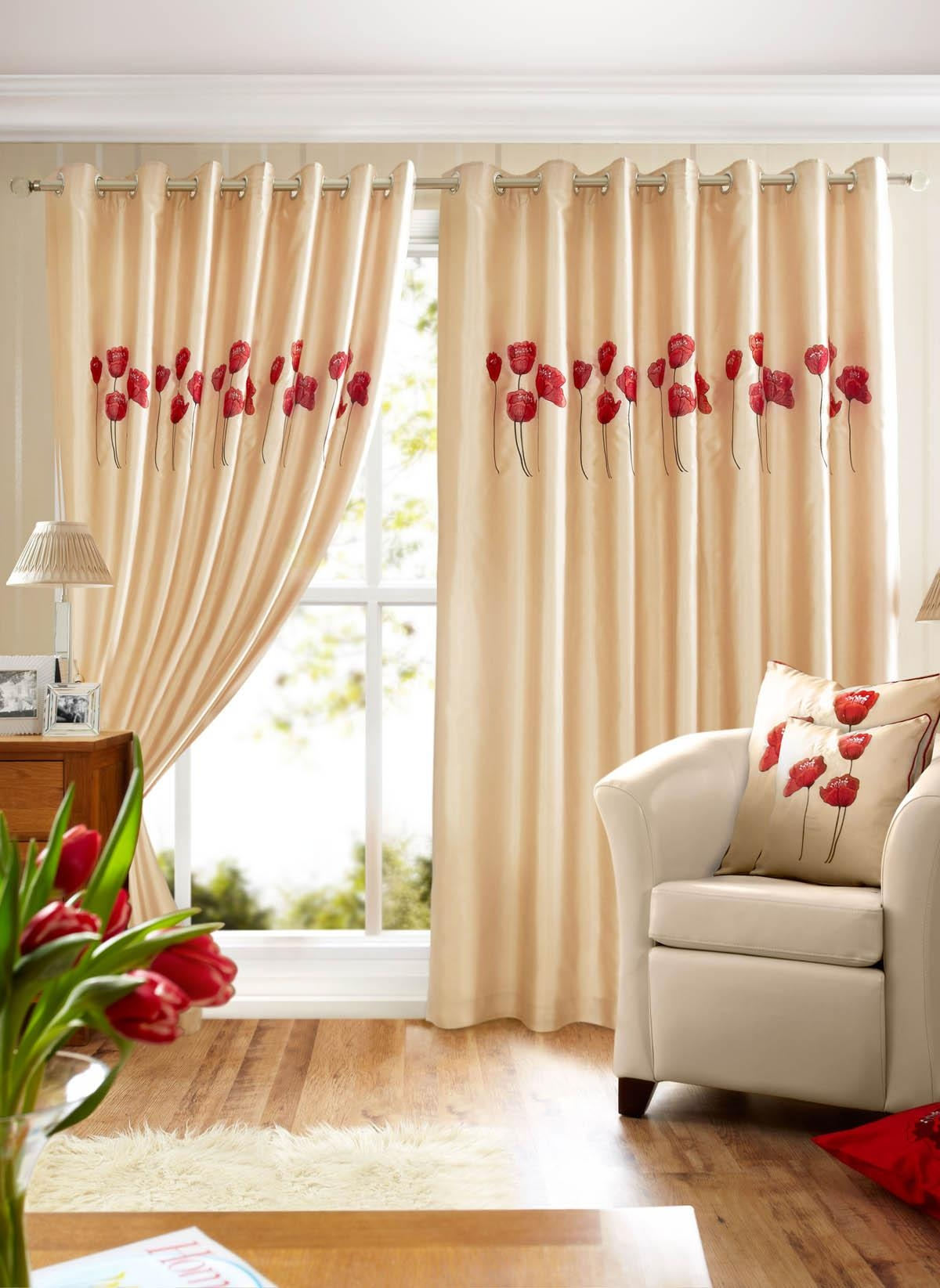 Poppies Lined Eyelet Curtains Cream Free Uk Delivery Terrys In Lined Cream Curtains (View 15 of 15)