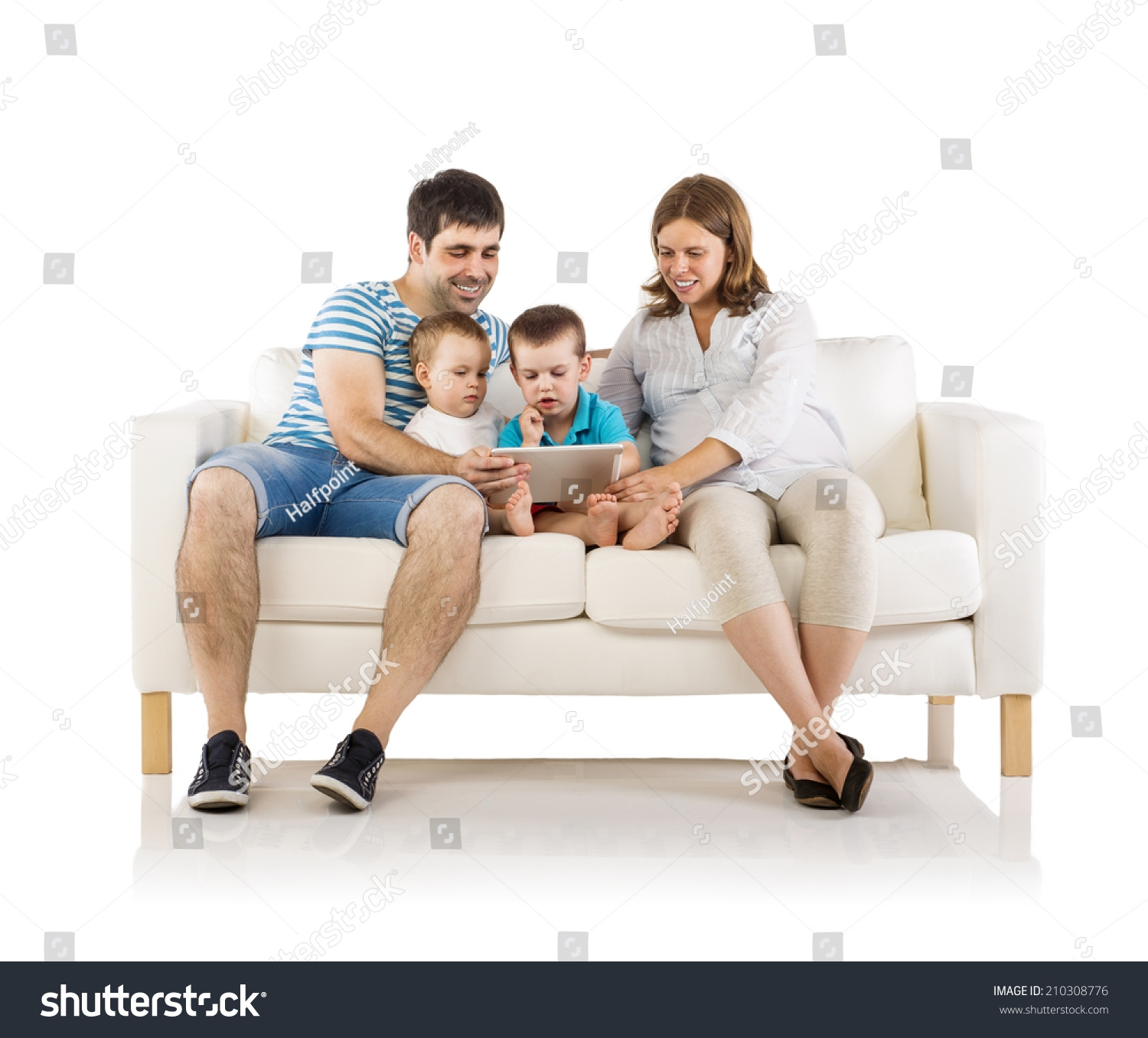 Portrait Happy Family Two Children Pregnant Stock Photo 210308776 Inside Family Sofa (Image 12 of 15)