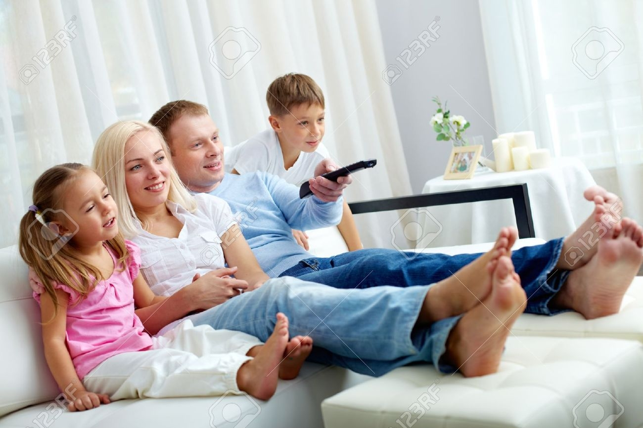 Portrait Of Happy Family With Two Children Sitting On Sofa And Within Family Sofa (Image 13 of 15)