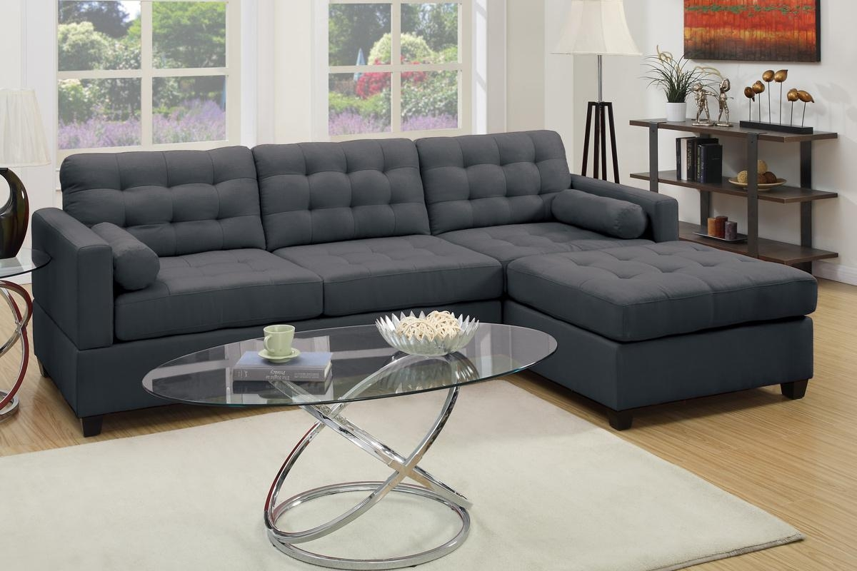 Poundex F7587 Grey Fabric Sectional Sofa Steal A Sofa Furniture Regarding Fabric Sectional Sofa (Image 11 of 15)