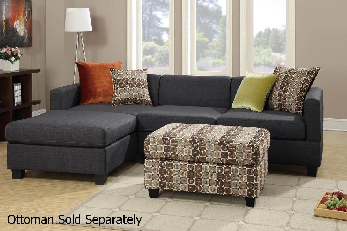 Poundex Maribel F7170 Black Fabric Sectional Sofa Steal A Sofa Inside Fabric Sectional Sofa (Image 12 of 15)