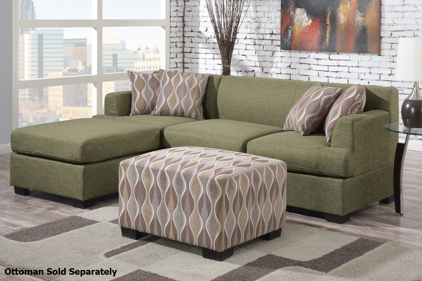 Poundex Montreal Ii F7976 F7977 Green Fabric Sectional Sofa In Fabric Sectional Sofa (Image 13 of 15)