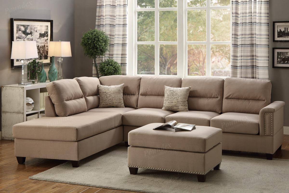 Poundex Rousey F7614 Brown Fabric Sectional Sofa And Ottoman Regarding Fabric Sectional Sofa (Image 14 of 15)