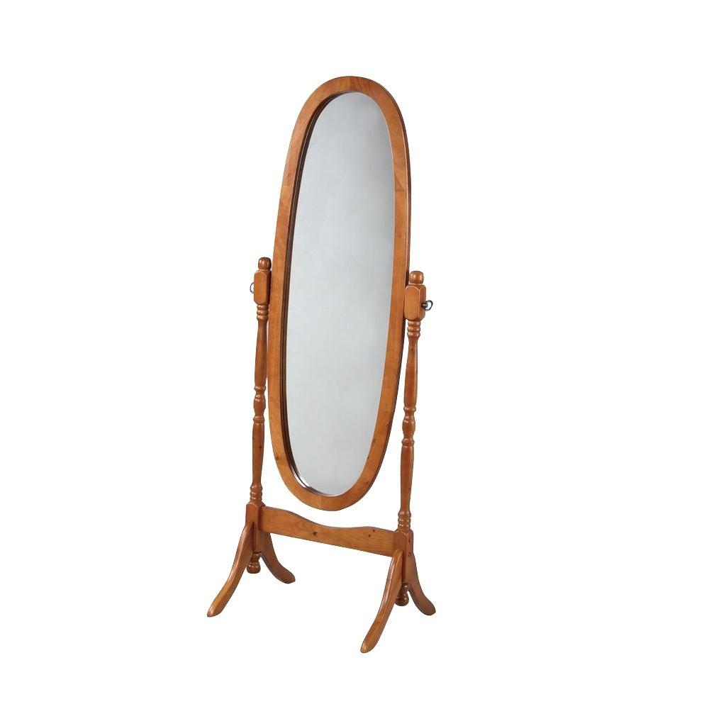 Powell 5925 In X 225 In Oak Wood Framed Cheval Mirror 979 Throughout Oval Freestanding Mirror (Image 13 of 15)