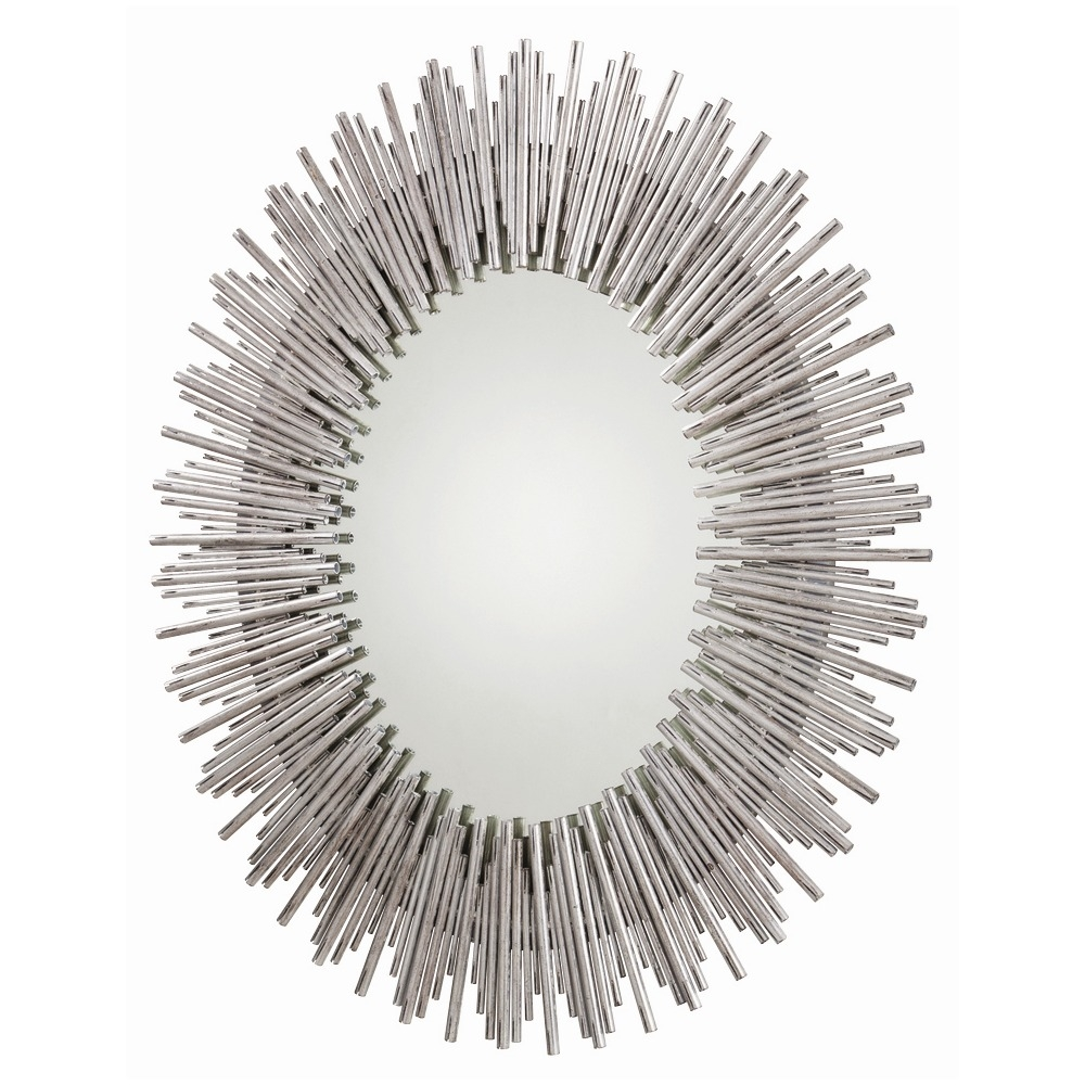 Prescott Large Oval Mirror Silver Reeds Arteriors 6684 With Large Oval Mirrors (View 2 of 15)