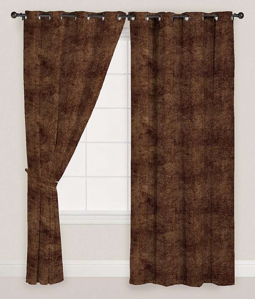 Presto Brown Colour Solid Velvet Door Curtain Buy Presto Brown With Velvet Door Curtain (Image 9 of 15)