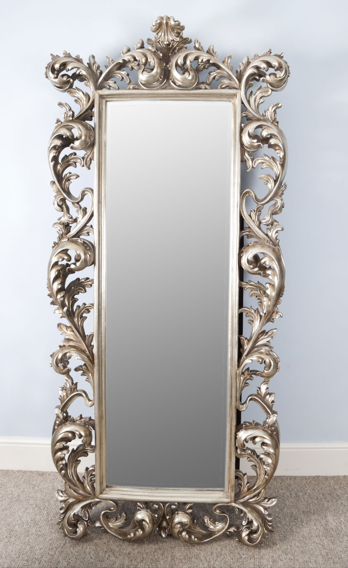 Pretty Vintage French Mirror And Antique French Floor Mirror For Rococo Mirrors Cheap (Image 13 of 15)