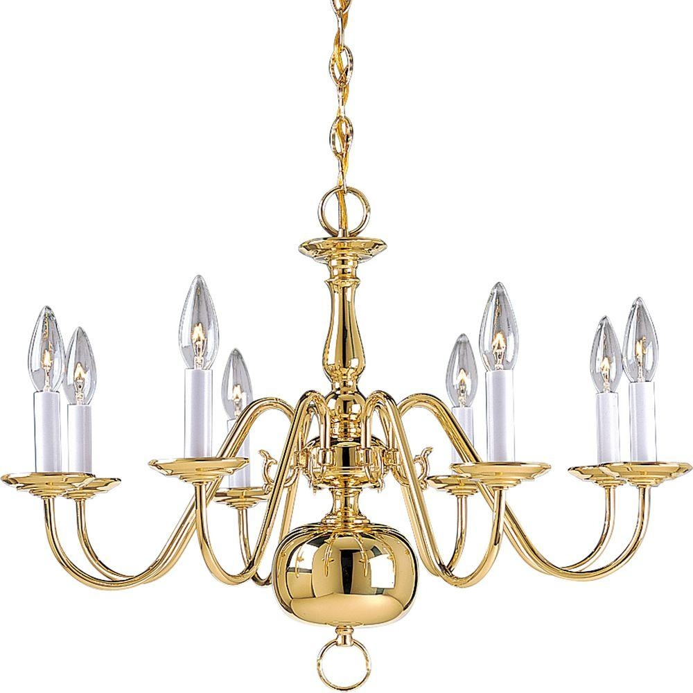 Progress Lighting Americana Collection 8 Light Polished Brass For Brass Chandeliers (View 12 of 15)