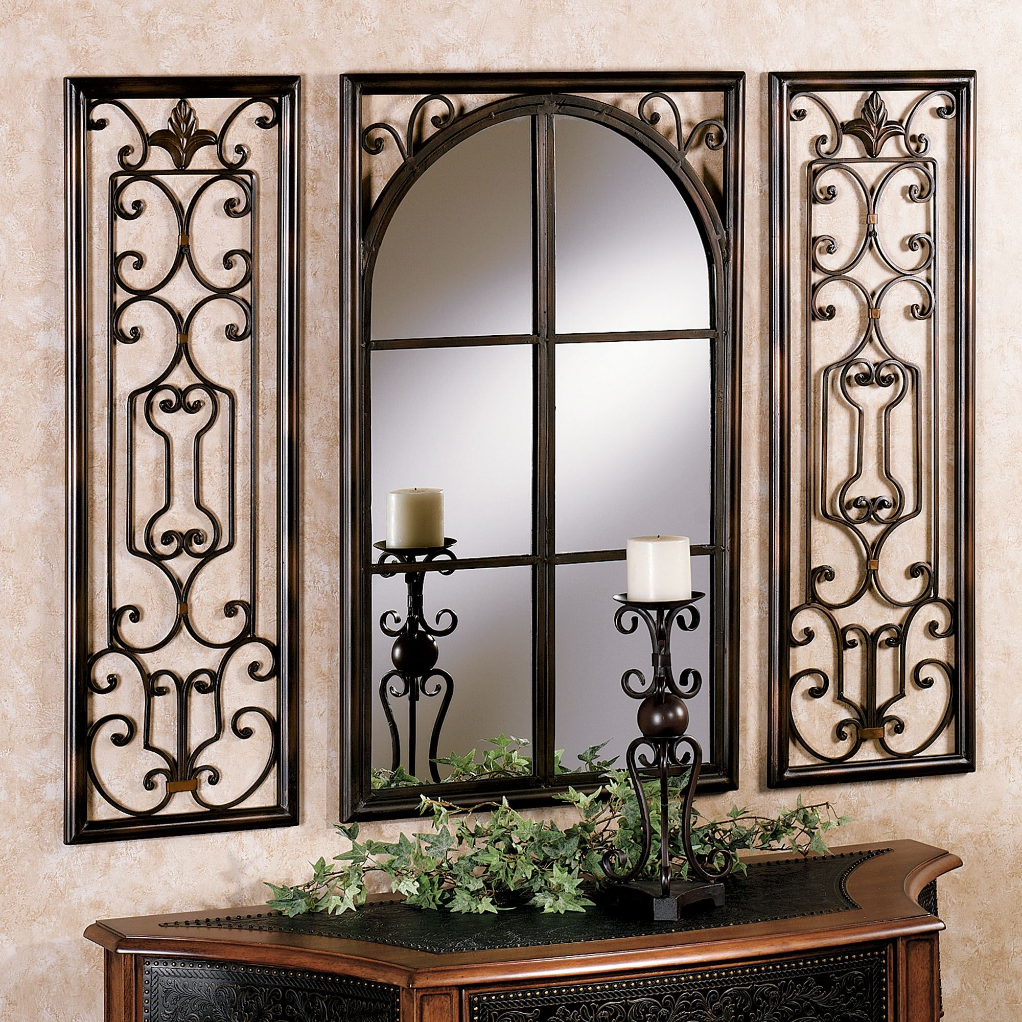 Provence Bronze Finish Wall Mirror Set Intended For Bronze Wall Mirrors (Image 5 of 15)