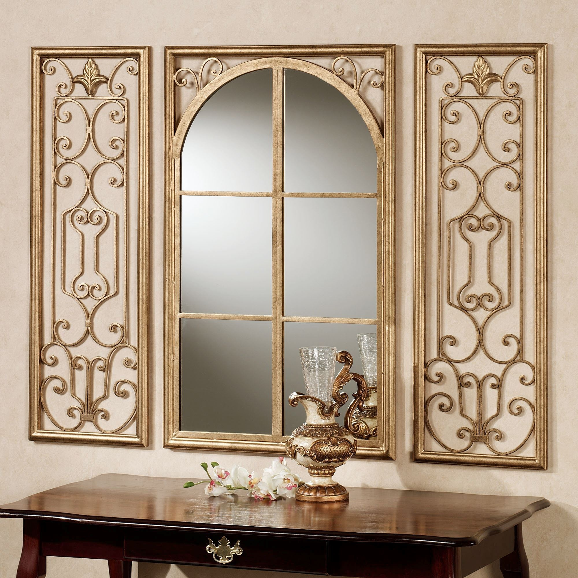 Provence Bronze Finish Wall Mirror Set Throughout Bronze Wall Mirrors (Image 6 of 15)