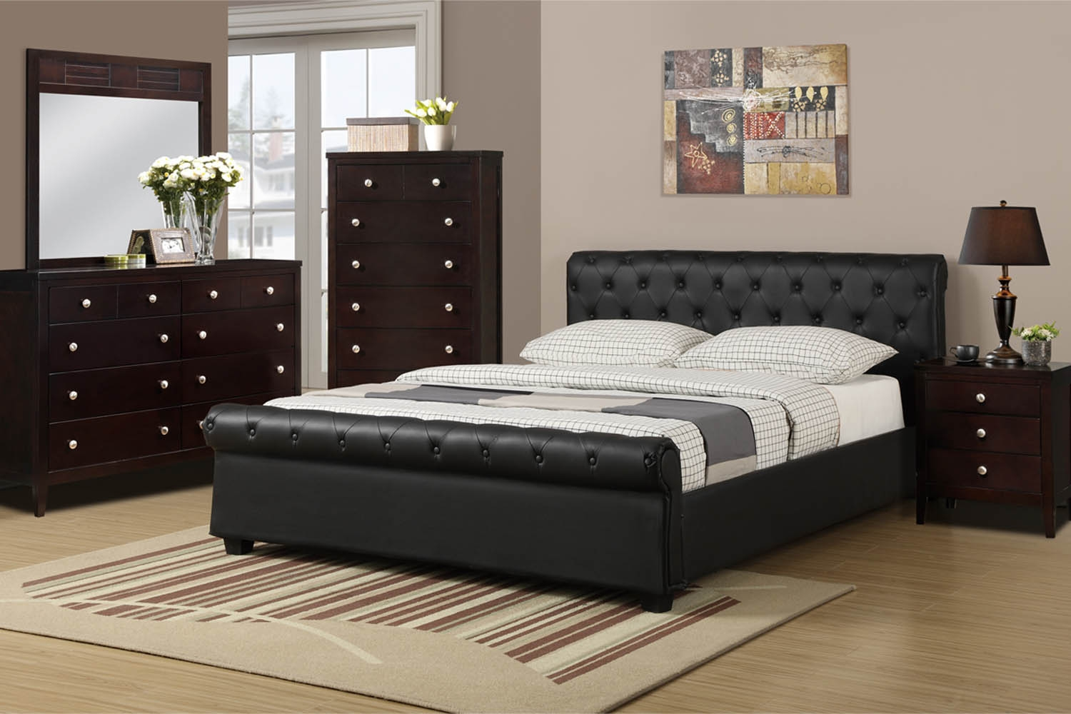 Queen Black Faux Leather Bed Frame With Black Leather Framed Mirror (Image 11 of 15)
