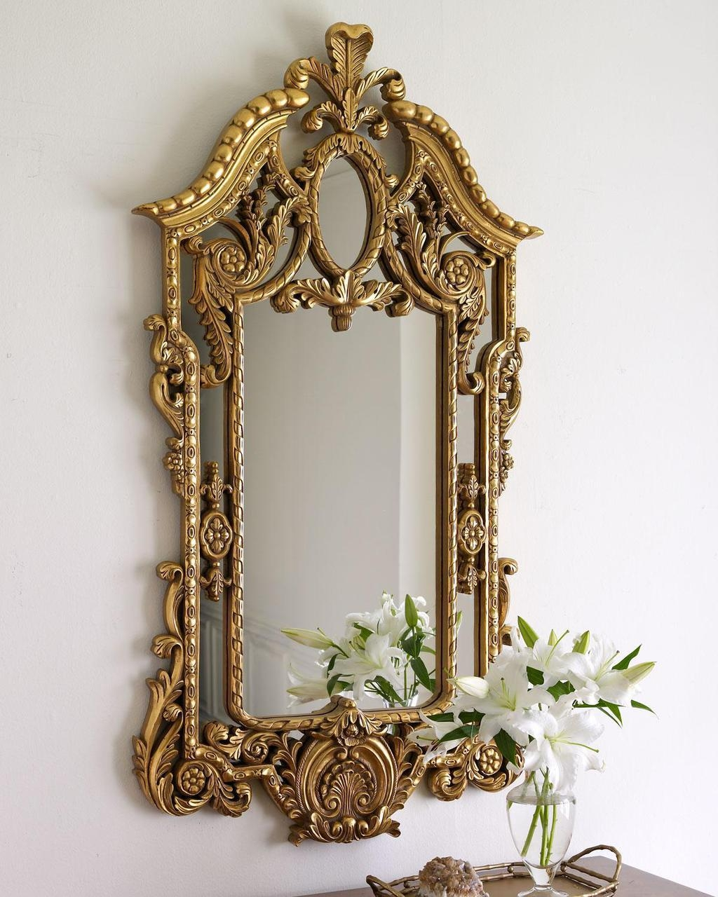 Queen Mirror Frame With Golden Framework Pretty And Expensive Within Expensive Mirrors (View 6 of 15)