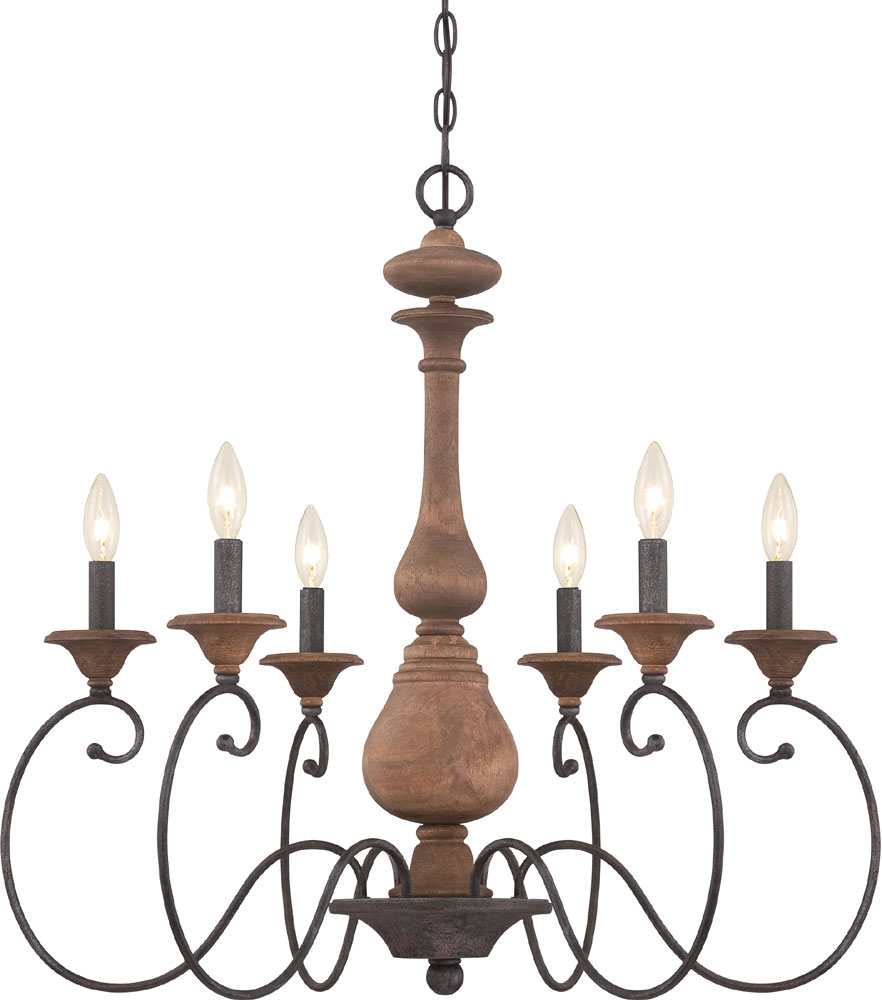 Quoizel Abn5006rk Auburn Traditional Rustic Black Chandelier Light In Traditional Chandelier (Image 4 of 15)