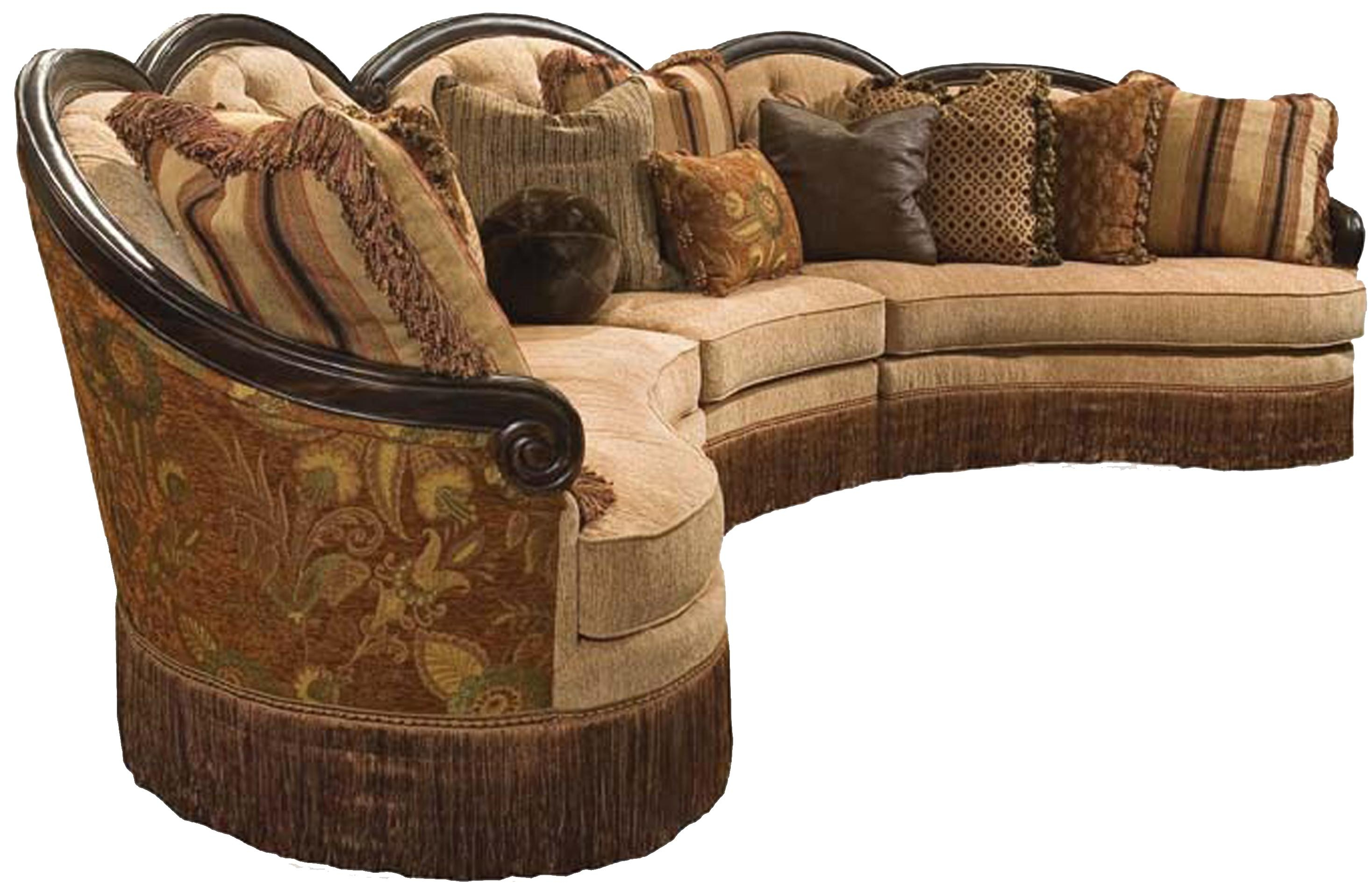 Rachlin Classics Grace Traditional 3pc Conversational Sectional For Classic Sectional Sofas (Image 12 of 15)