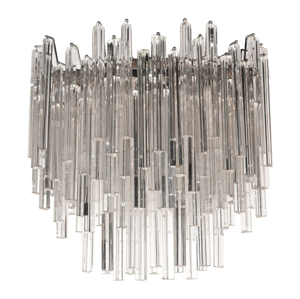 Radiant Oblong Crystal Glass Chandelier Camer Glass At 1stdibs For Glass Chandelier (View 5 of 15)