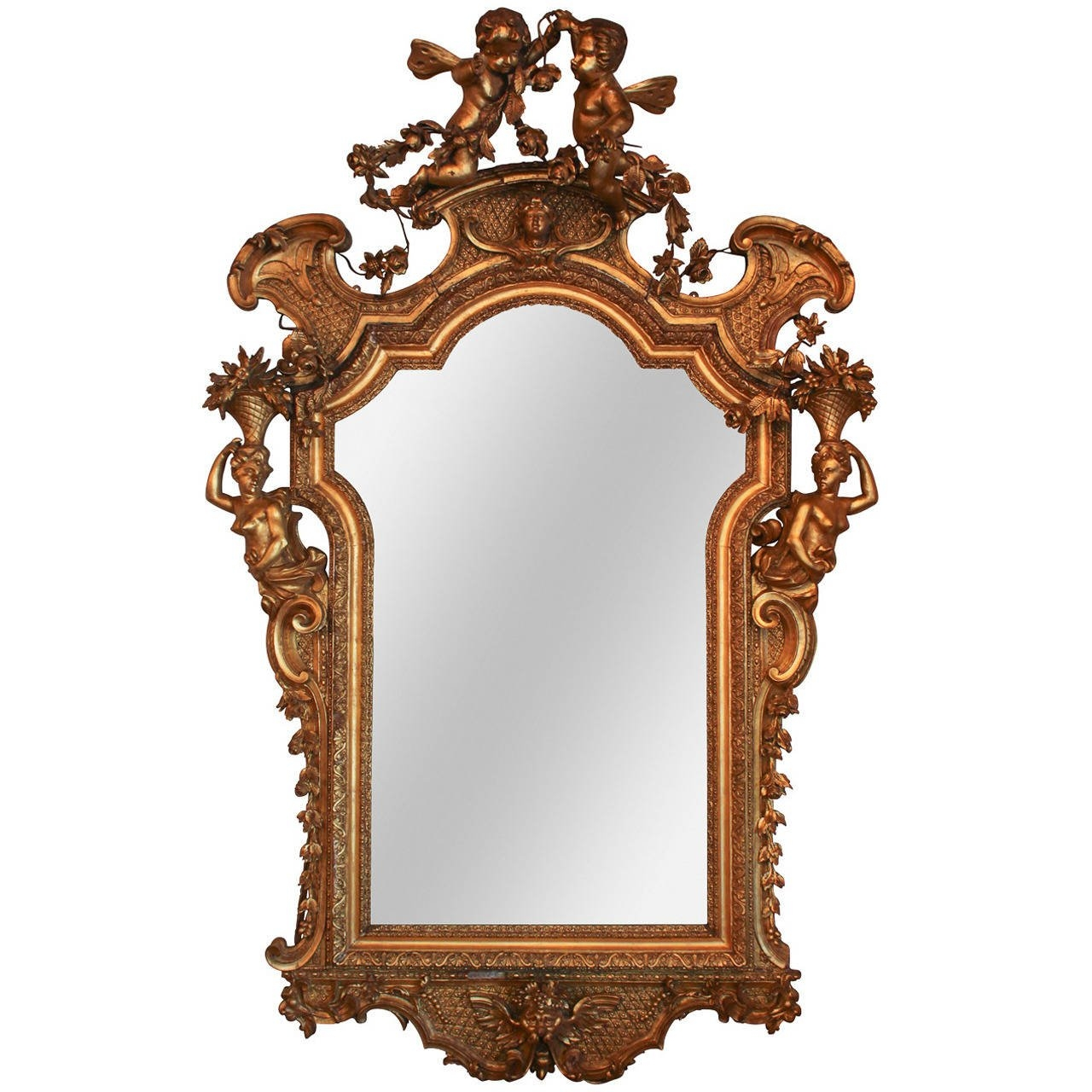 Rare 19th C French Rococo Giltwood Cherub Mirror For Sale At 1stdibs Regarding Rococo Gold Mirror (Image 13 of 15)