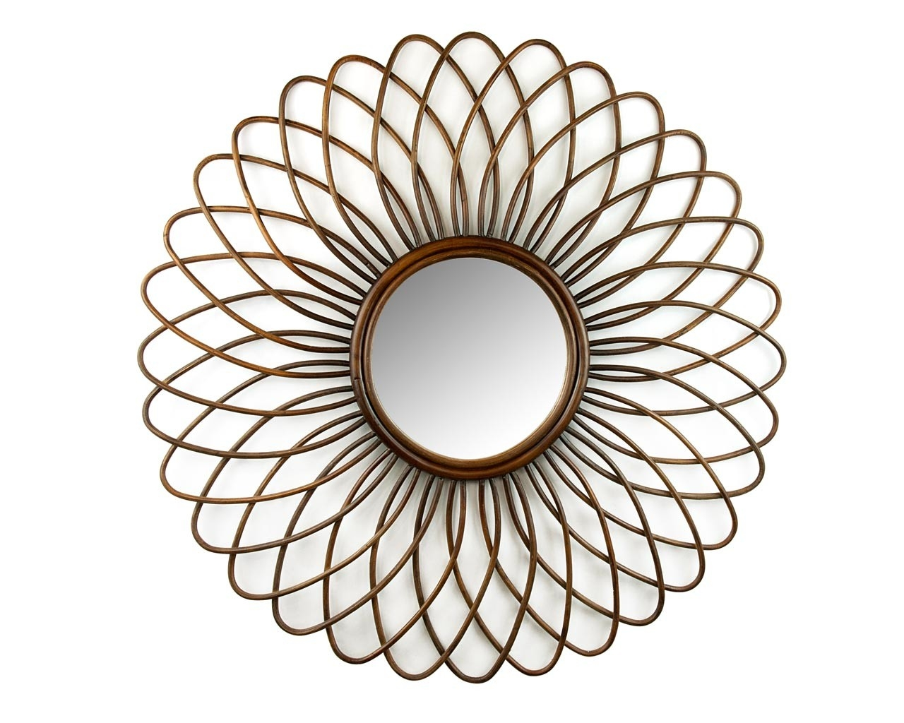 Rattan Ornate Round Mirror Handcrafted Feature Mirrors Inside Ornate Round Mirror (Image 8 of 15)
