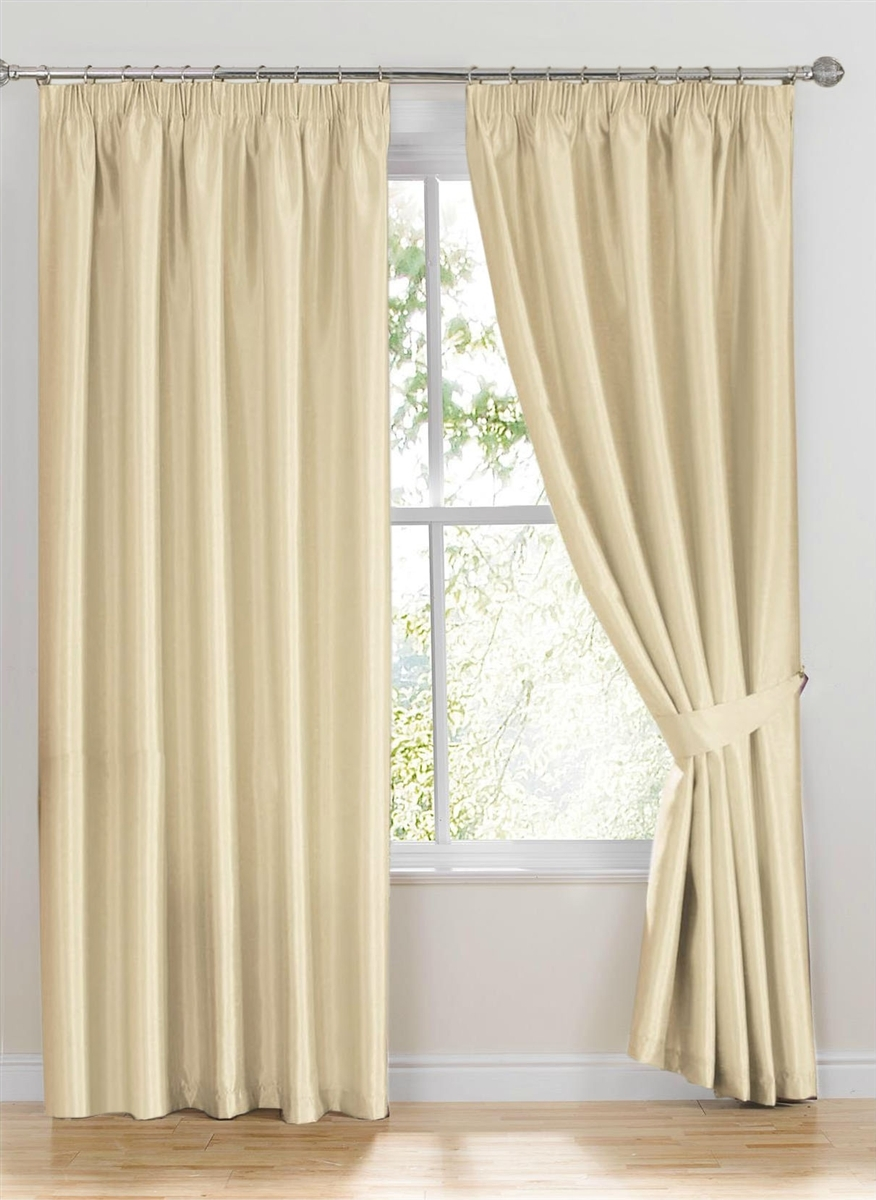 Ready Made Curtains Como Ivory White Faux Silk Curtains Inside Silk Ready Made Curtains (Image 8 of 15)