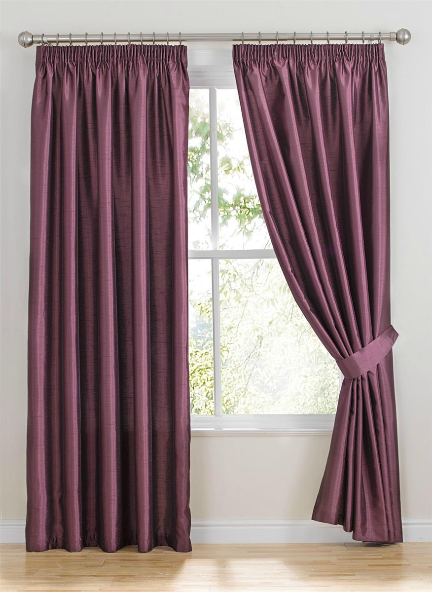 Ready Made Curtains Como Mulberry Faux Silk Curtains Inside Silk Ready Made Curtains (Image 9 of 15)