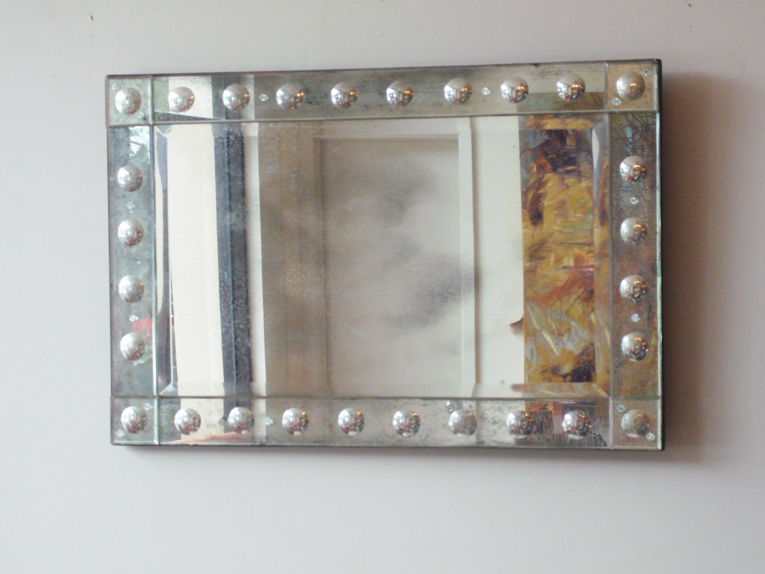 Rectangular Antiqued Aged Venetian Mirror Mecox Gardens Pertaining To Venetian Bubble Mirror (Image 6 of 15)