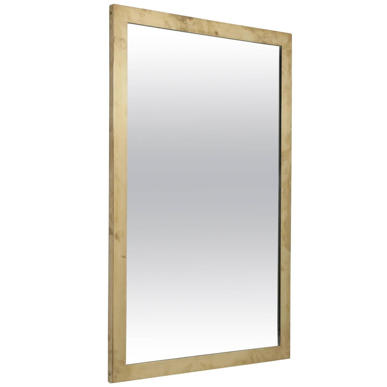 Rectangular Italian Wall Mirror With Heavy Brass Frame 1950s For Inside Brass Mirrors For Sale (Image 11 of 15)