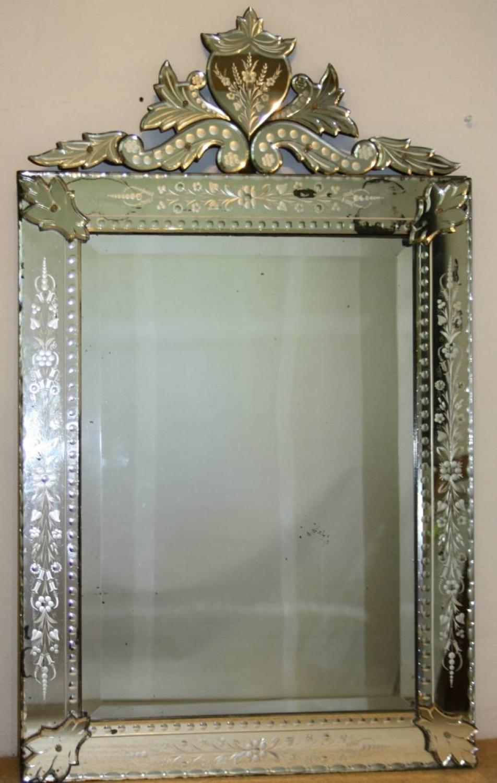 Rectangular Venetian Mirror With Cartouche Venetian Mirrors For Venetian Mirror For Sale (Image 10 of 15)
