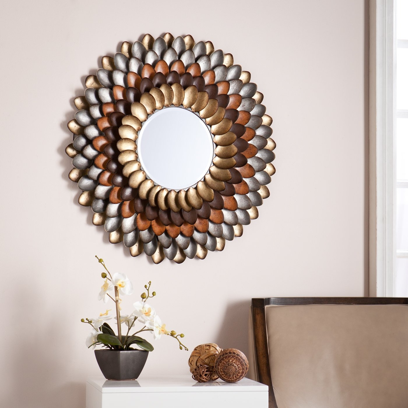 Red Barrel Studio Decorative Round Wall Mirror Reviews Wayfair Within Red Wall Mirrors (Image 13 of 15)