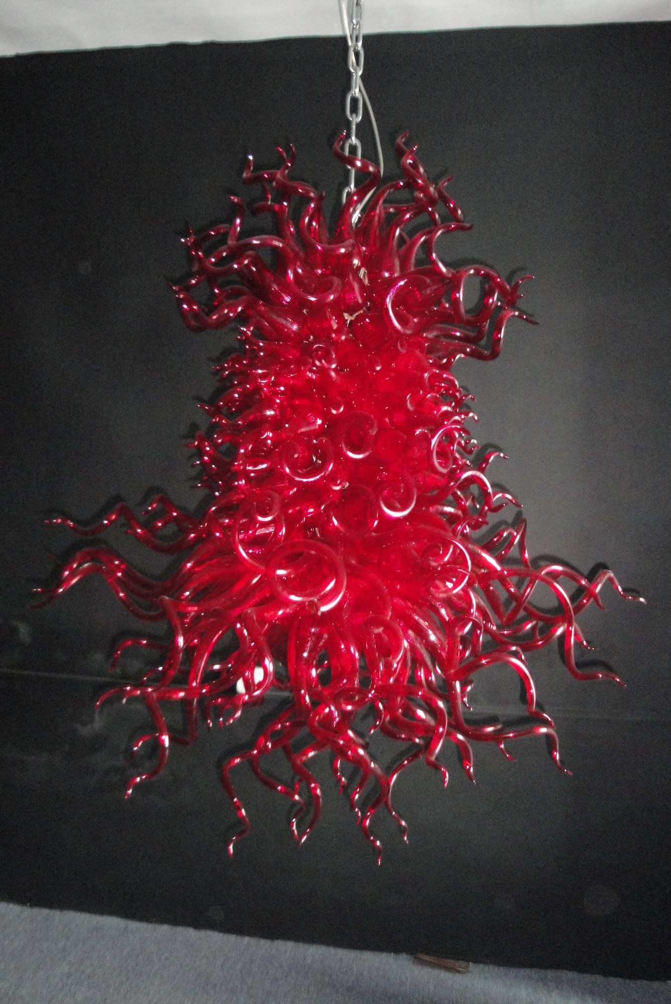 Red Blown Glass Chandelier Pertaining To Red Chandeliers (Image 10 of 15)