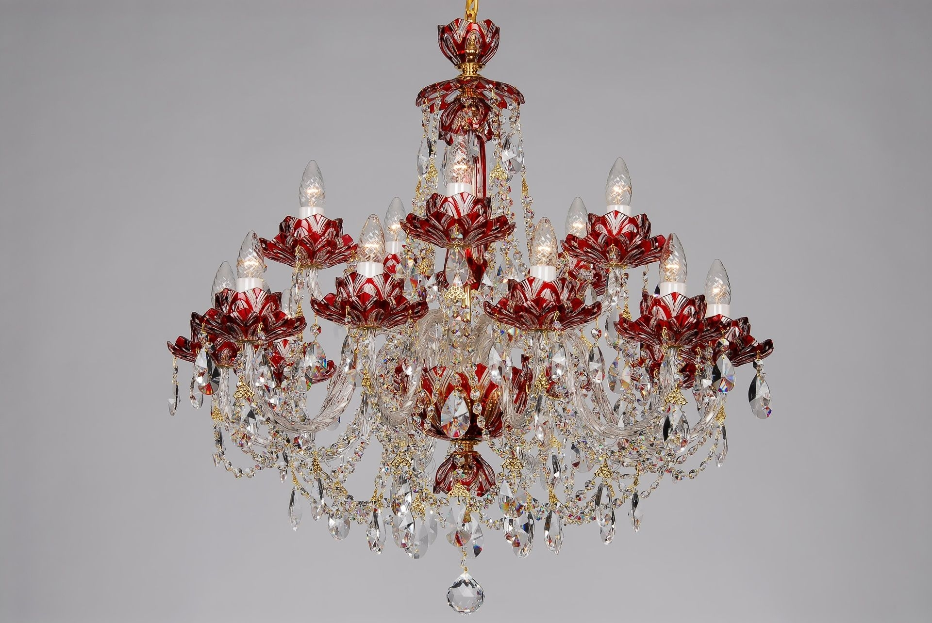 Red Crystal Chandeliers And Wall Lights Lucky Glass Pertaining To Red Chandeliers (Image 12 of 15)