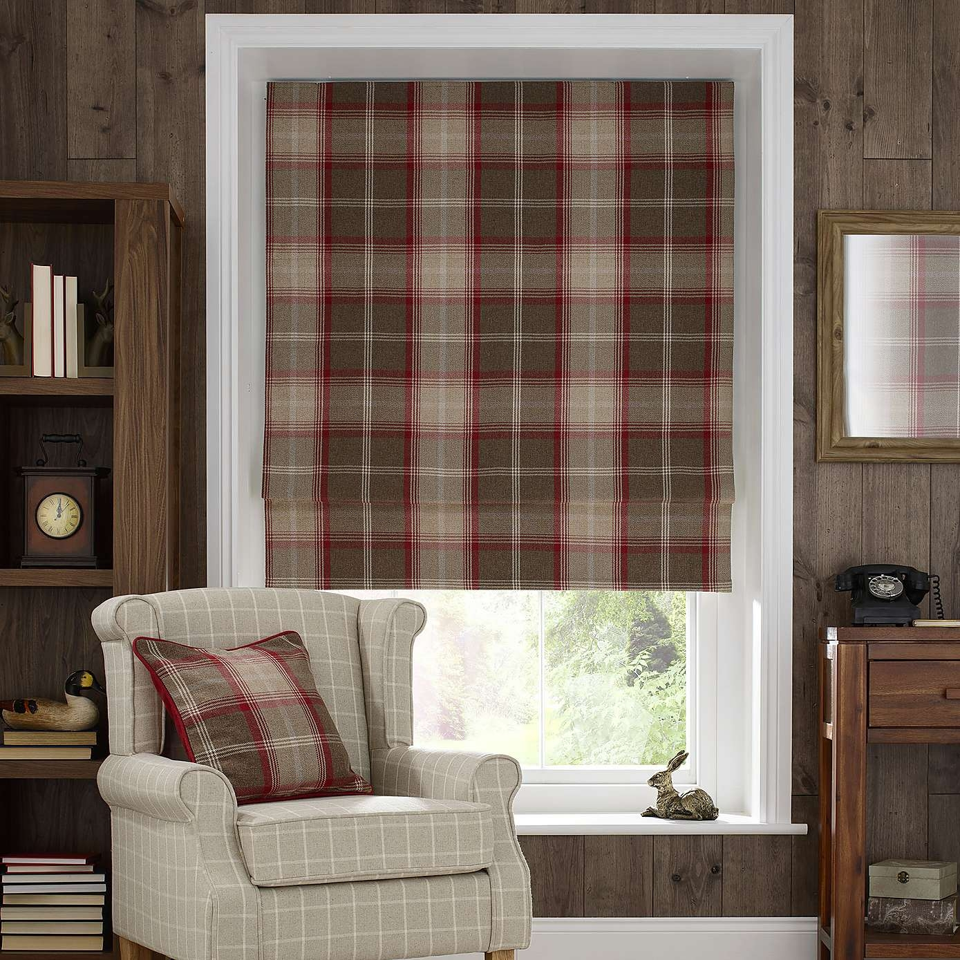 Red Highland Check Blackout Roman Blind Dunelm Living Room Within Plaid Roman Blinds (Image 6 of 15)
