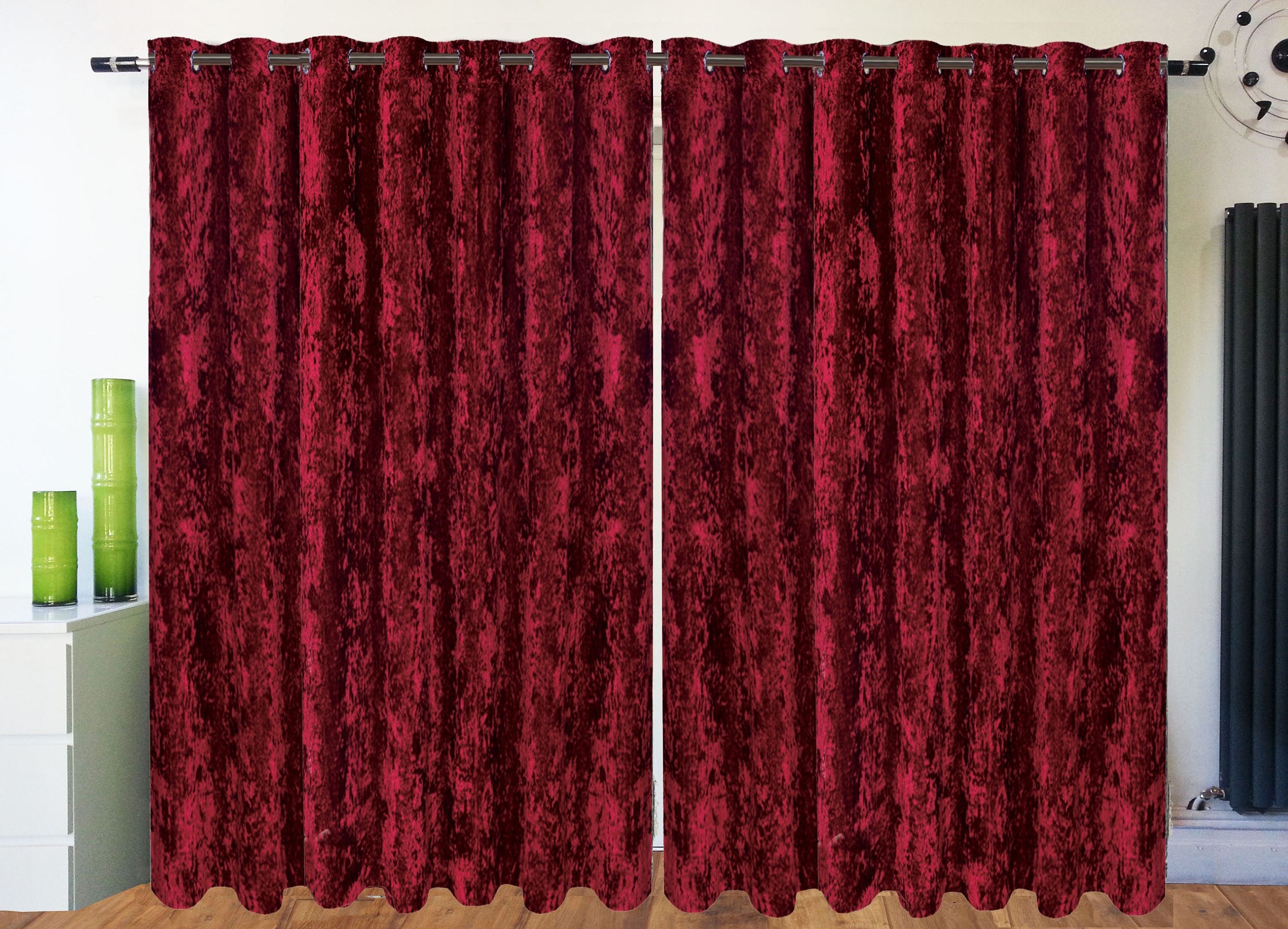 Red Velvet Curtains Etsy Regarding Velveteen Curtains (Image 11 of 15)