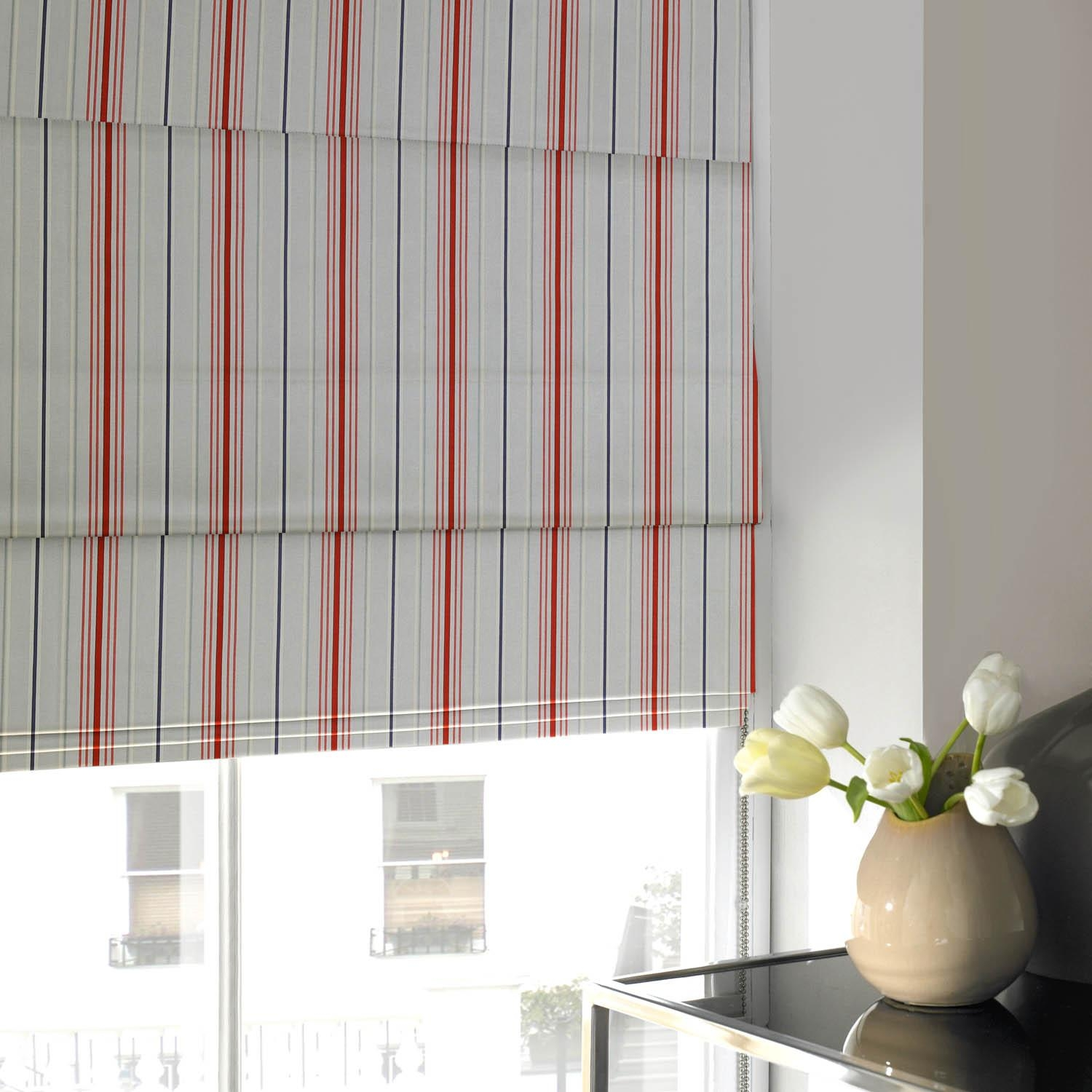Curtain Blue And White Striped Roman Blinds 1 Of 15 Photos