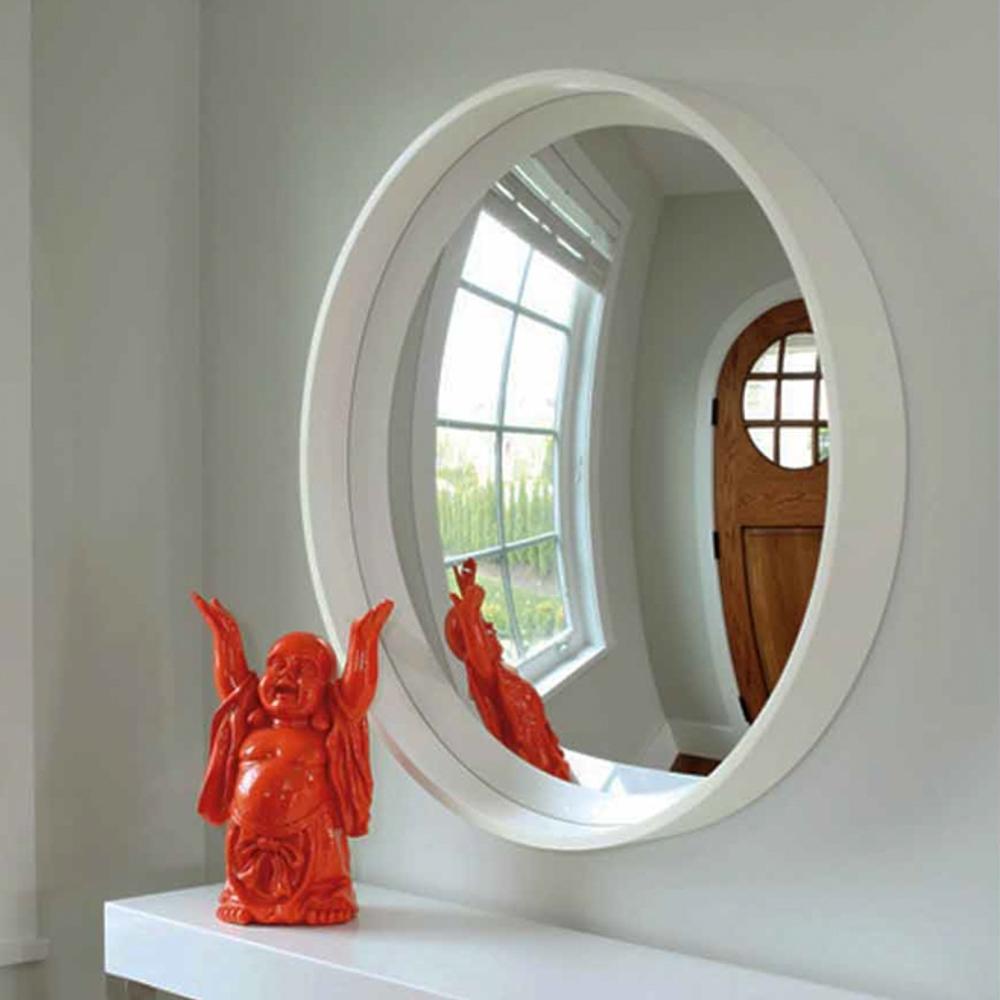 Reflecting Design Pazzo 38 Bone White Decorative Convex Mirror E3 Pertaining To White Convex Mirror (Image 9 of 15)