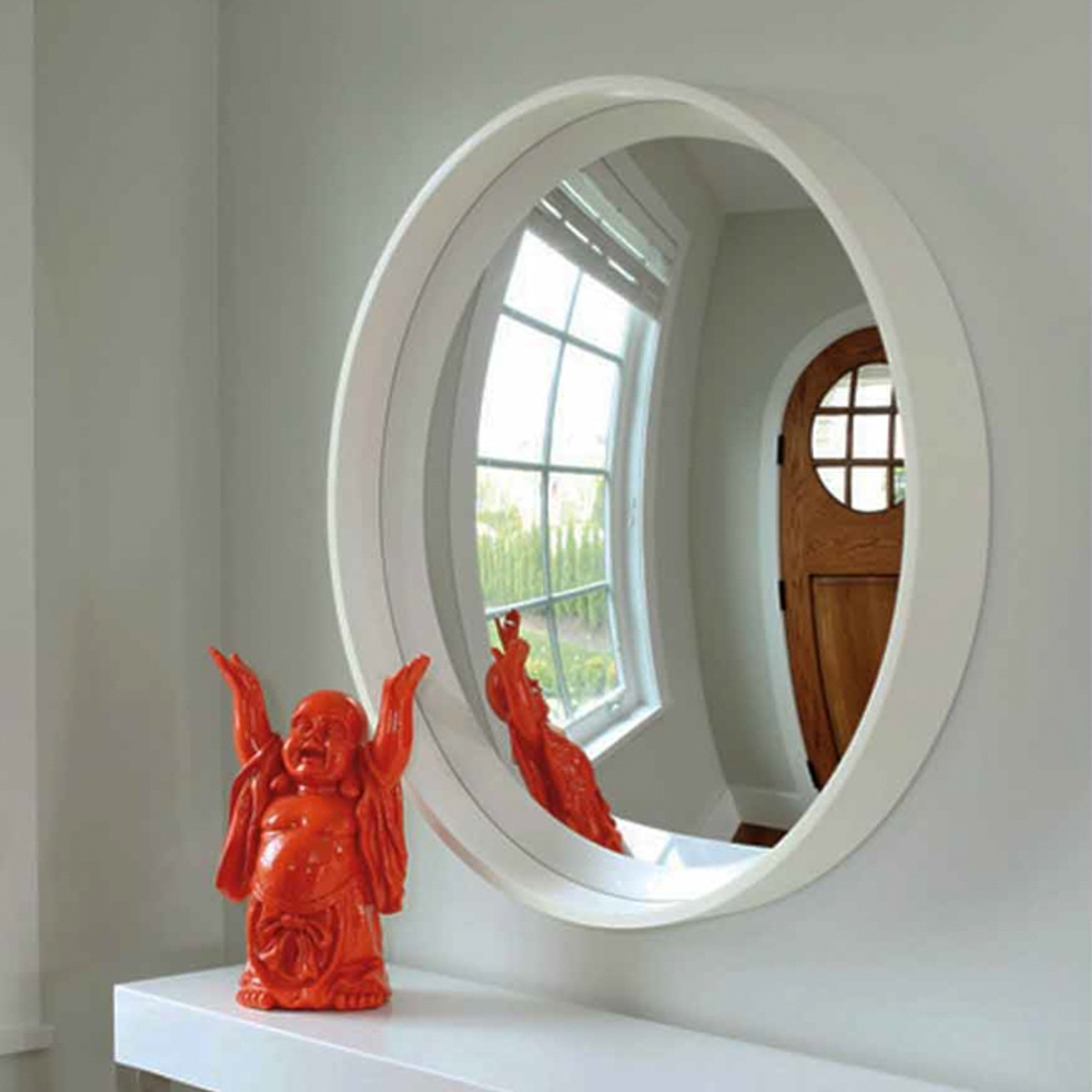 Reflecting Design Pazzo 38 Bone White Decorative Convex Mirror E3 Within Convex Decorative Mirror (Image 12 of 15)