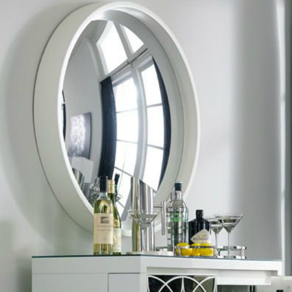 Reflecting Design Pazzo 38 Bone White Decorative Convex Mirror E5 Intended For White Convex Mirror (View 13 of 15)