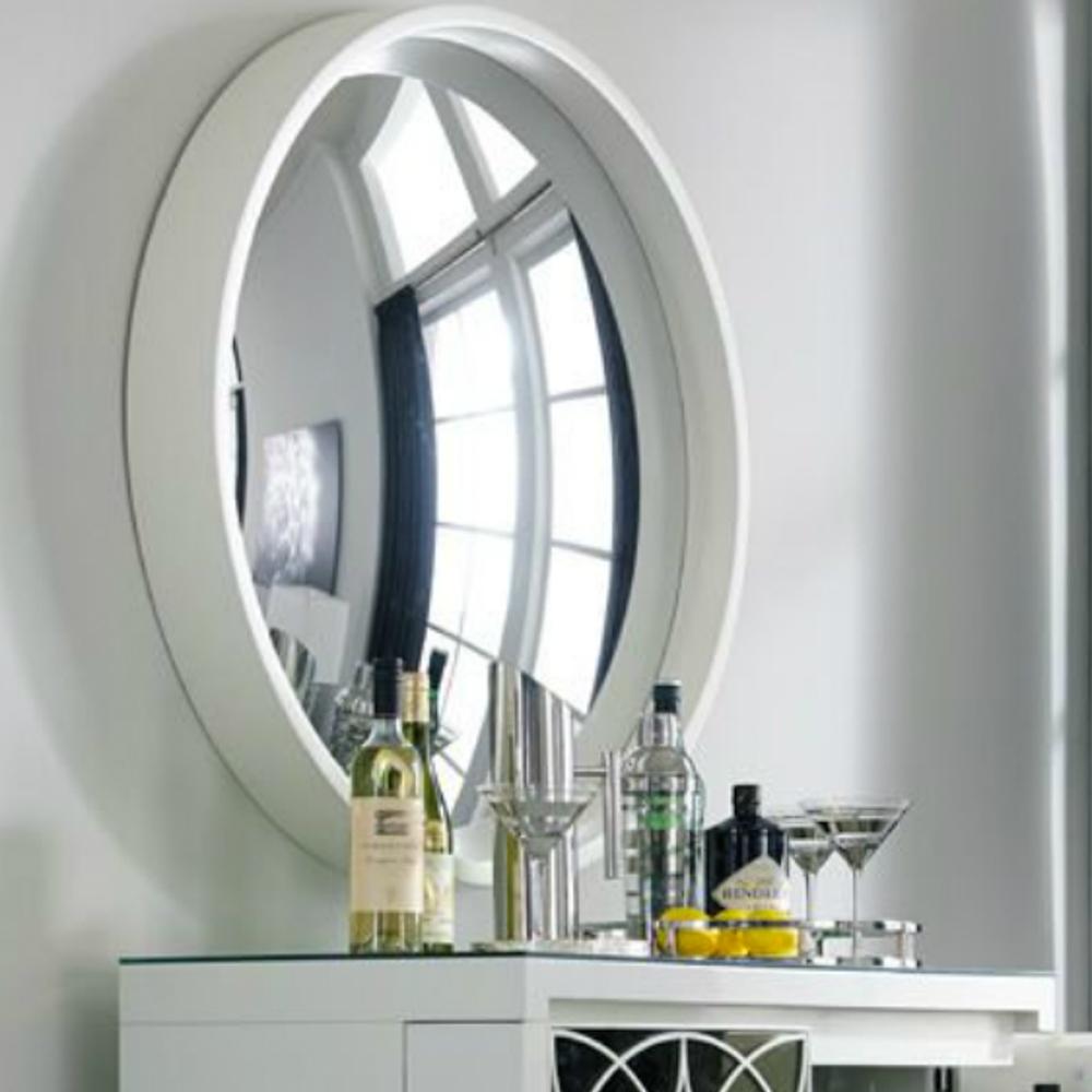 Reflecting Design Pazzo 38 Bone White Decorative Convex Mirror E5 Intended For White Convex Mirror (Image 10 of 15)