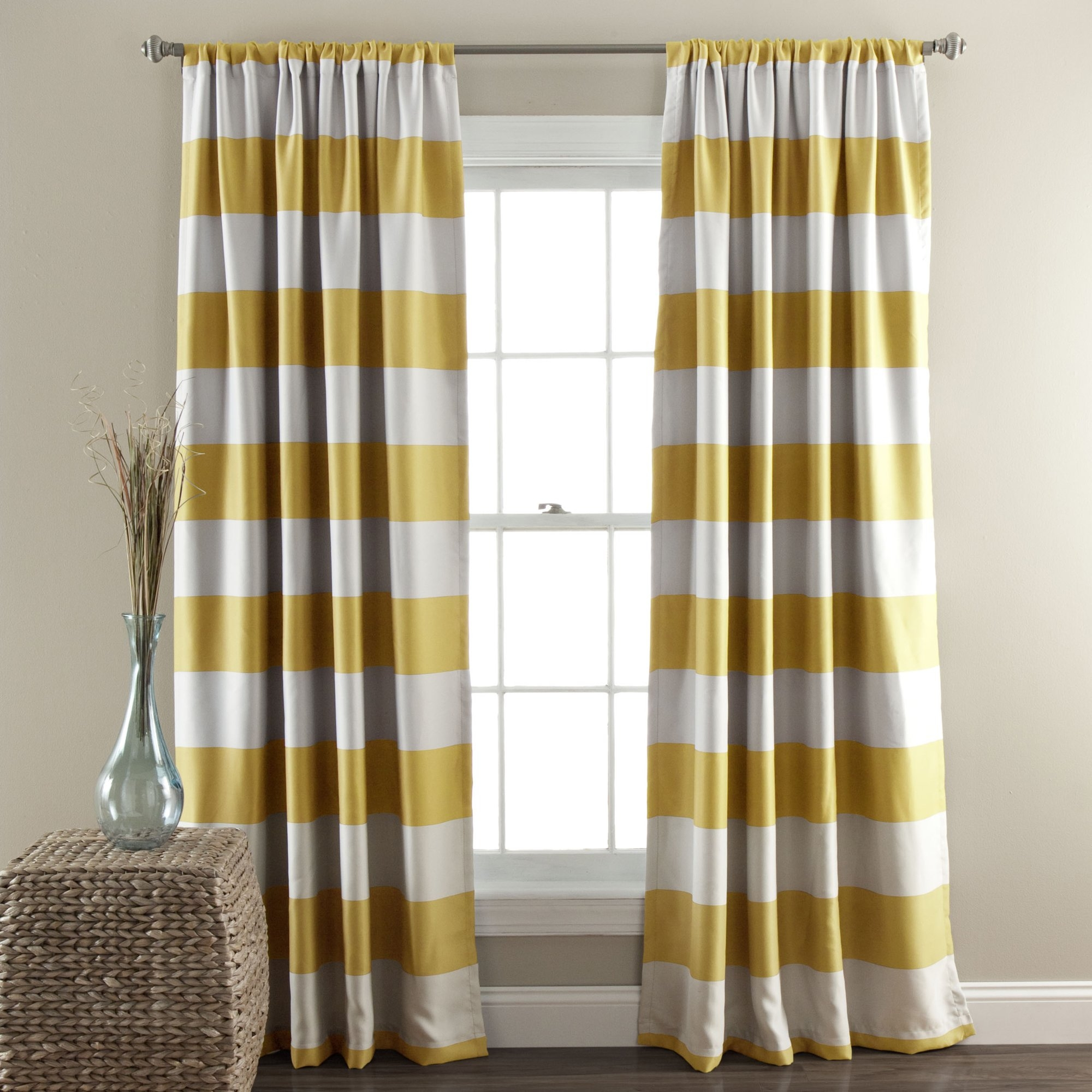 Regatta Striped Blackout Thermal Curtain Panels Reviews Birch Lane Inside Striped Thermal Curtains (Image 12 of 15)