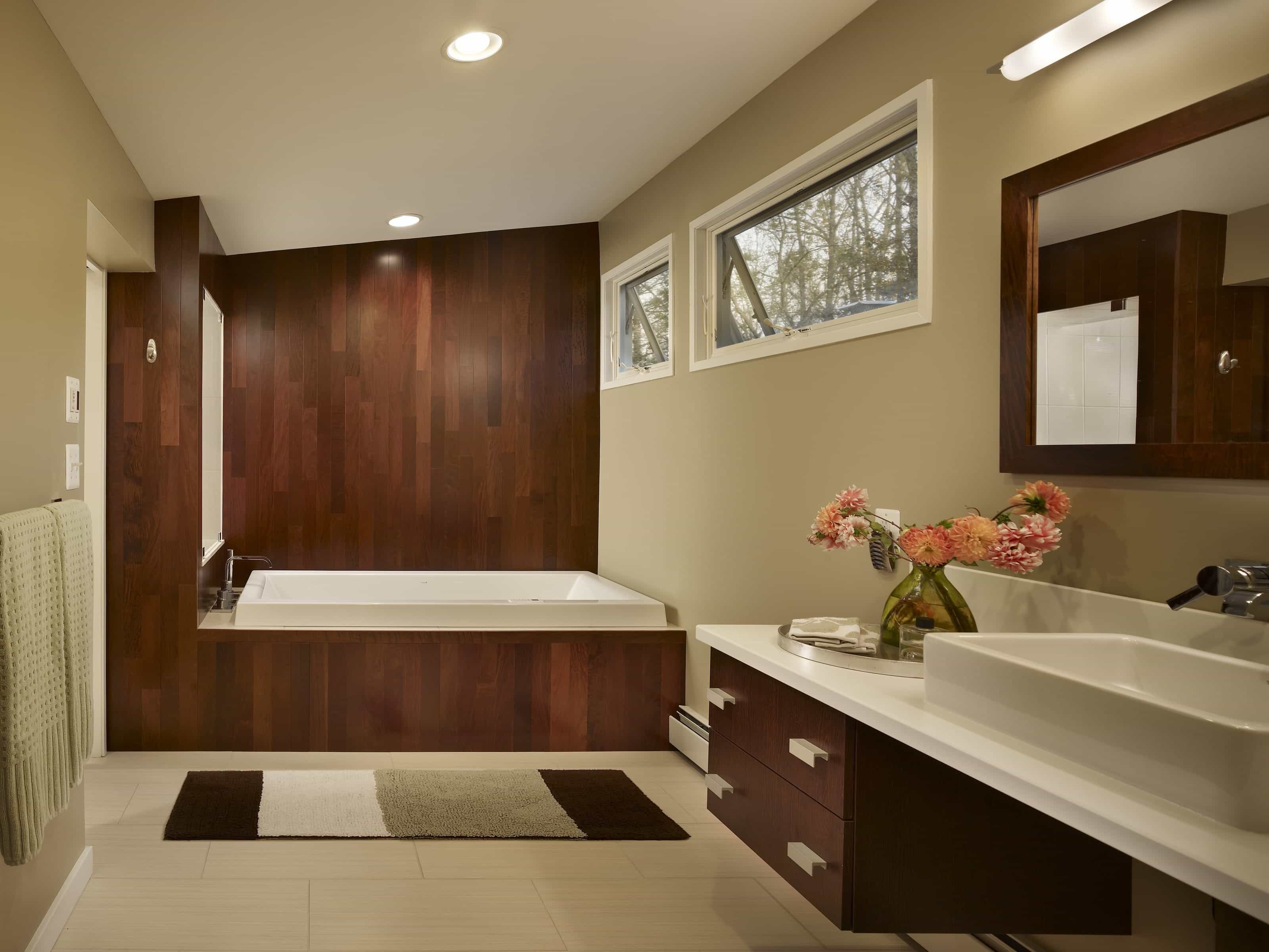 Relaxing Contemporary Spa Bathroom With Minimalist Rug (Image 11 of 11)