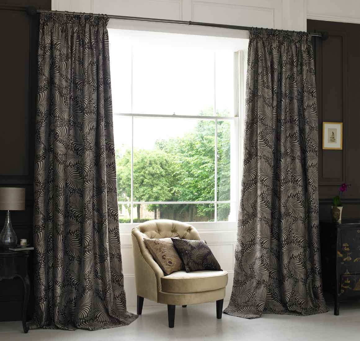 Remarkable Curtains Living Room Ideas Window Coverings Blackout Throughout Black And Brown Curtains (Image 15 of 15)