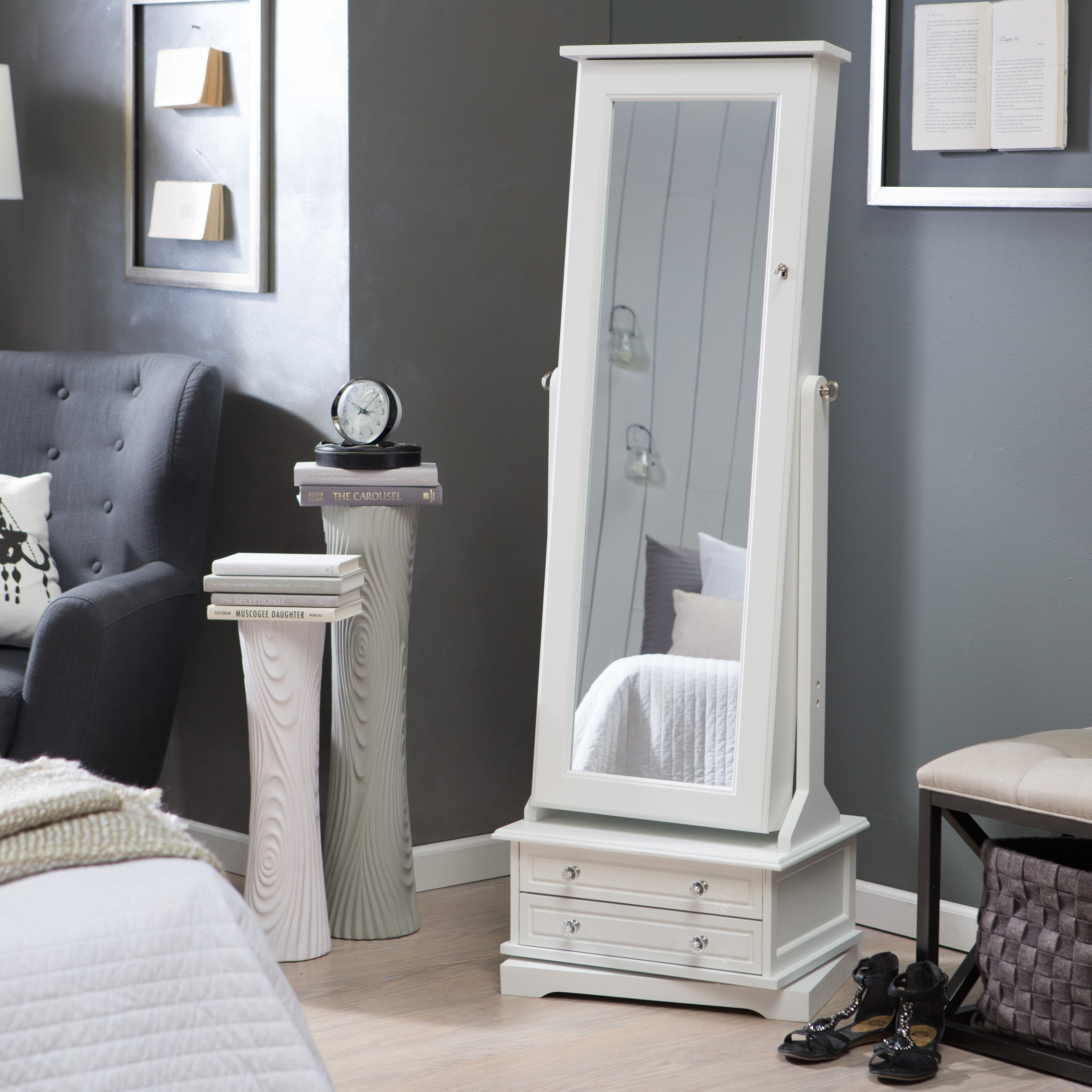 Remarkable White Furnishing In Living Room Deco Showcasing Intended For Large White Floor Mirror (Image 12 of 15)