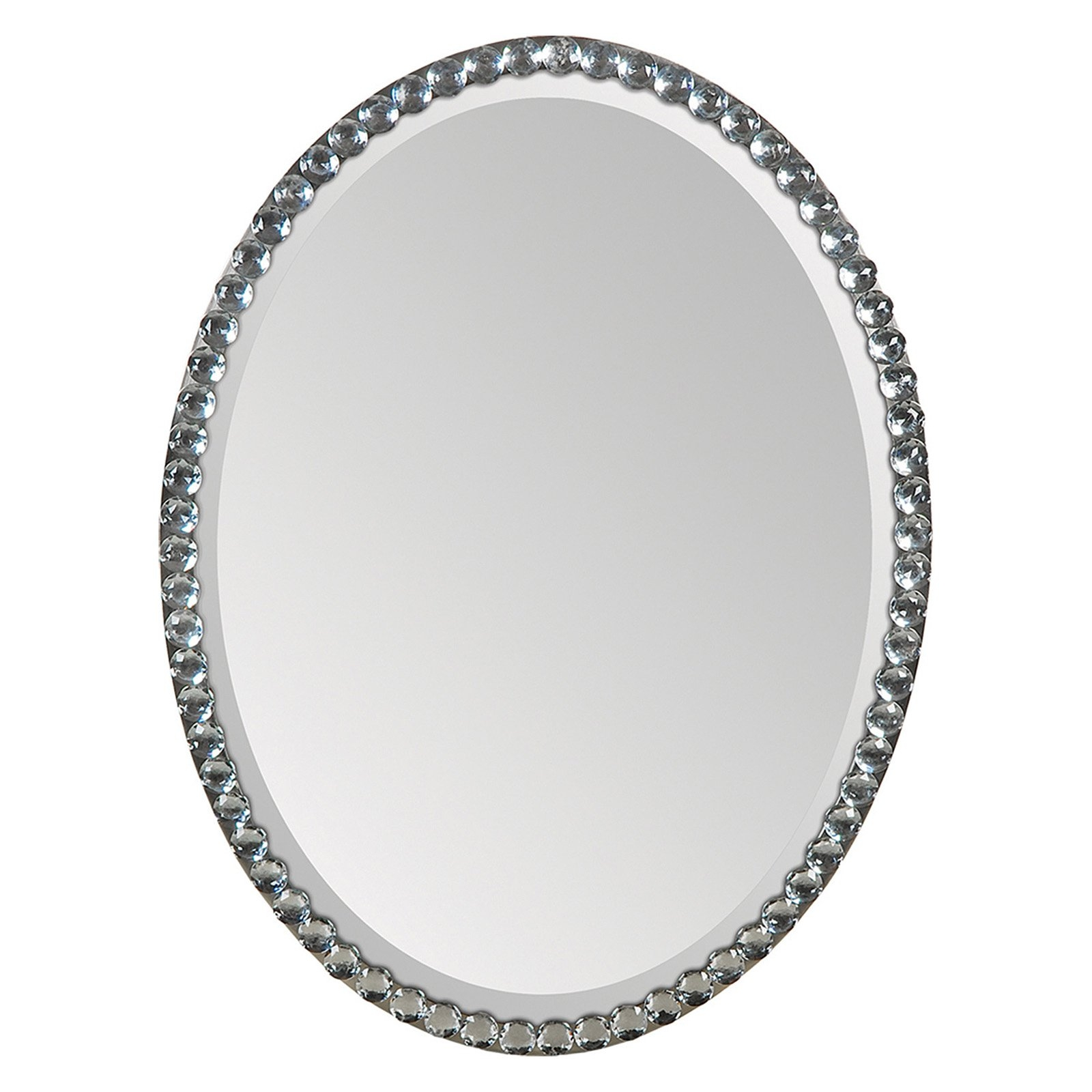 Ren Wil Oval Crystal Framed Wall Mirror 24w X 32h In Walmart Regarding Silver Oval Mirror (Image 9 of 15)