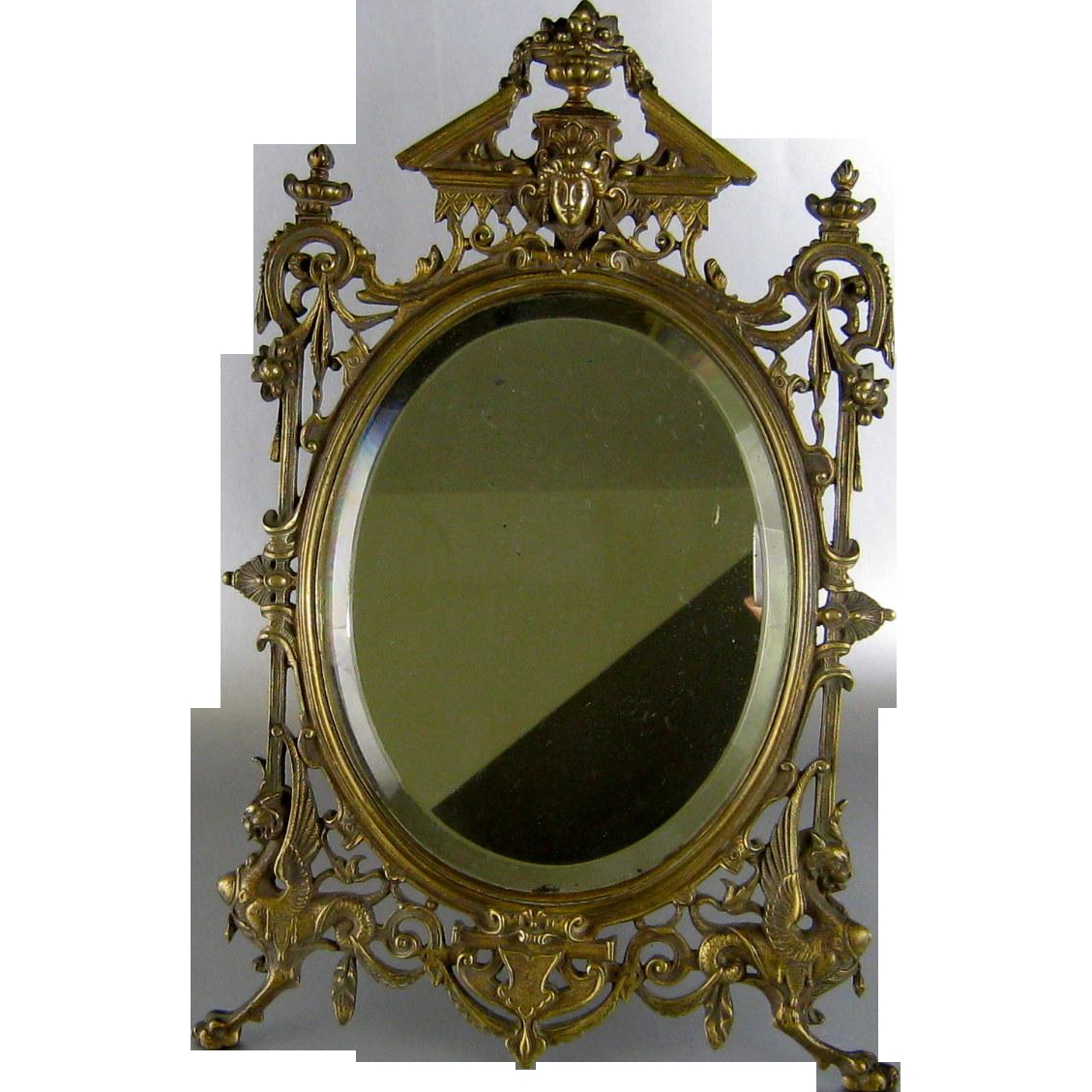 Renaissance Revival Bronze Vanity Table Mirror C1880 Victorian Within Victorian Mirrors Antique (Image 13 of 15)