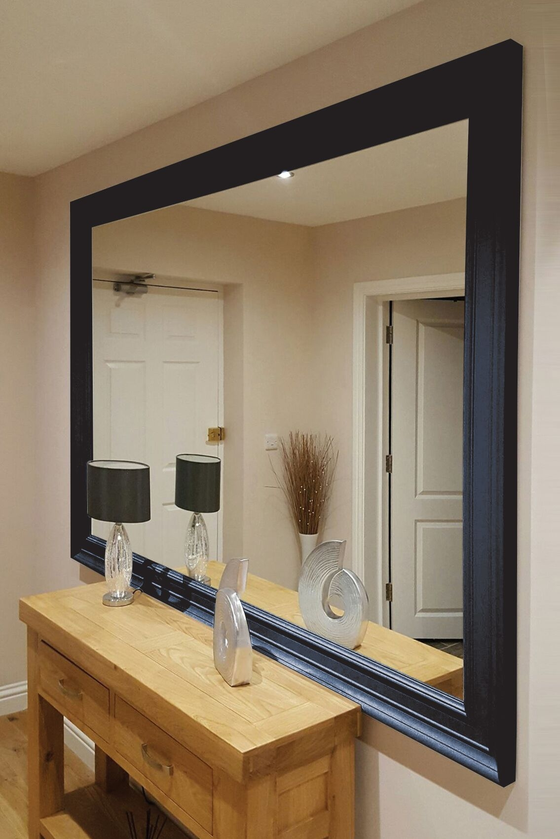 Reno Black Extra Large Compact Mirror Hampshire Furniture For Extra Large Black Mirror (Image 13 of 15)