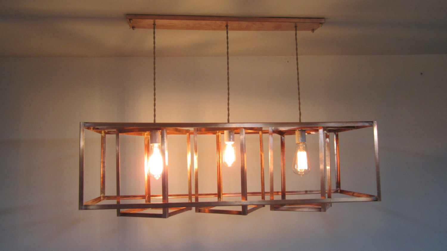 Reserved Custom Geometric Chandelier With Copper Socket Regarding Copper Chandeliers (Image 13 of 15)
