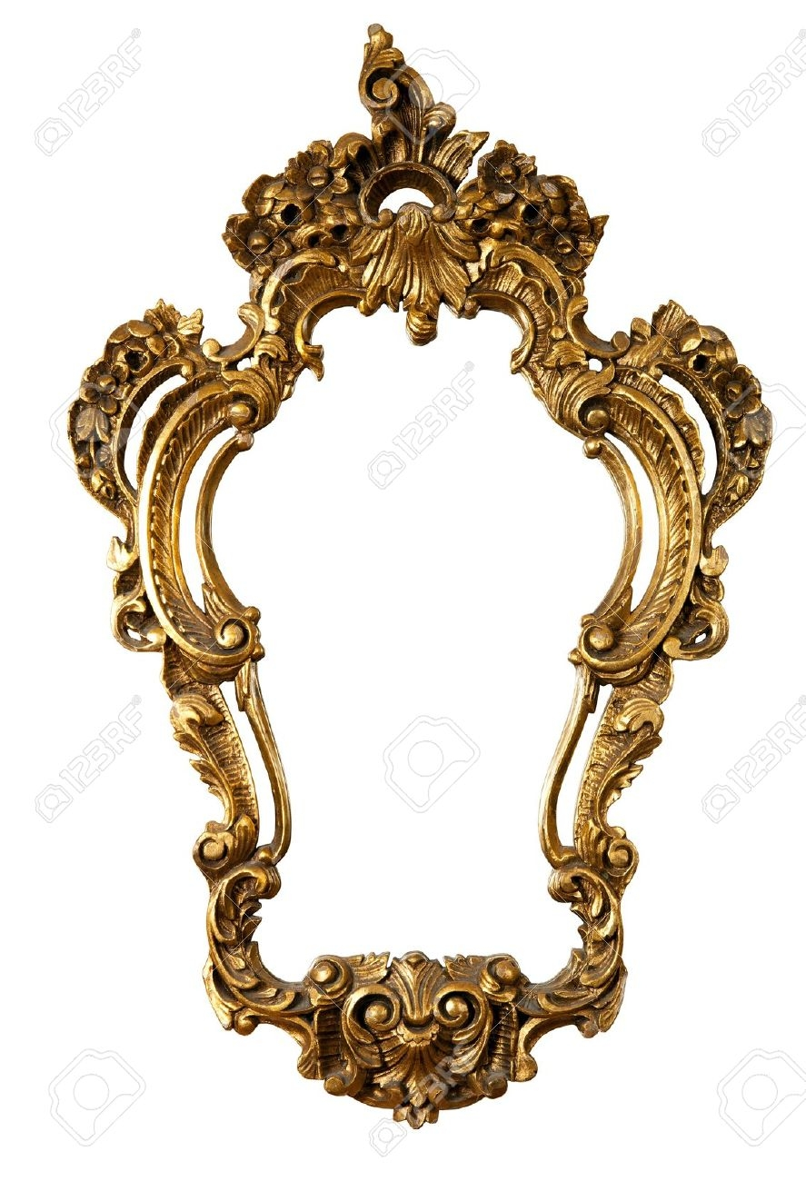 Retro Golden Old Frame A Mirror Baroque Style Isolated On Within Old Style Mirror (View 2 of 15)