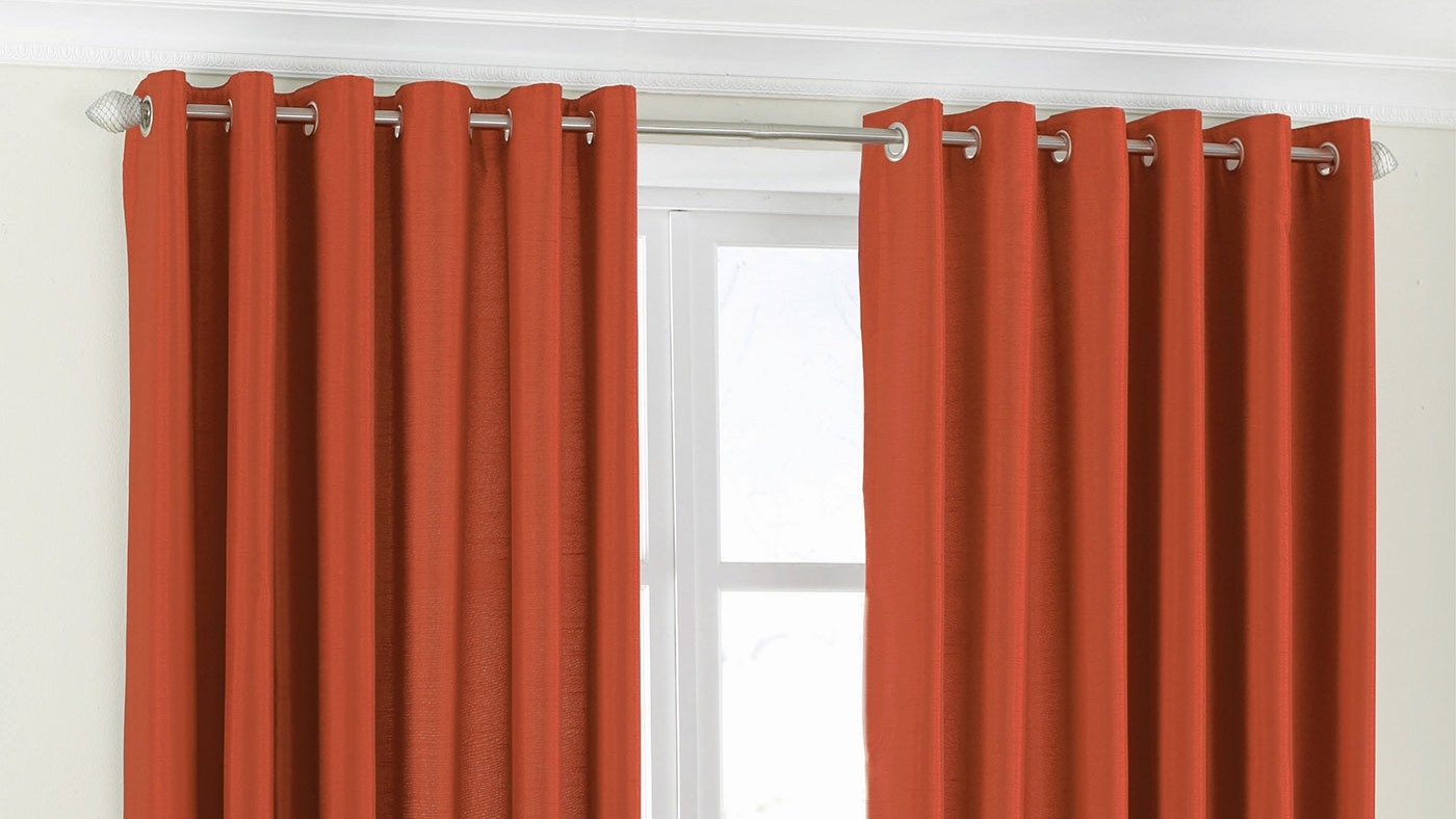 Riva Home Fiji Faux Silk Burnt Orange Eyelet Curtains Miah In Orange Silk Curtains (Image 14 of 15)
