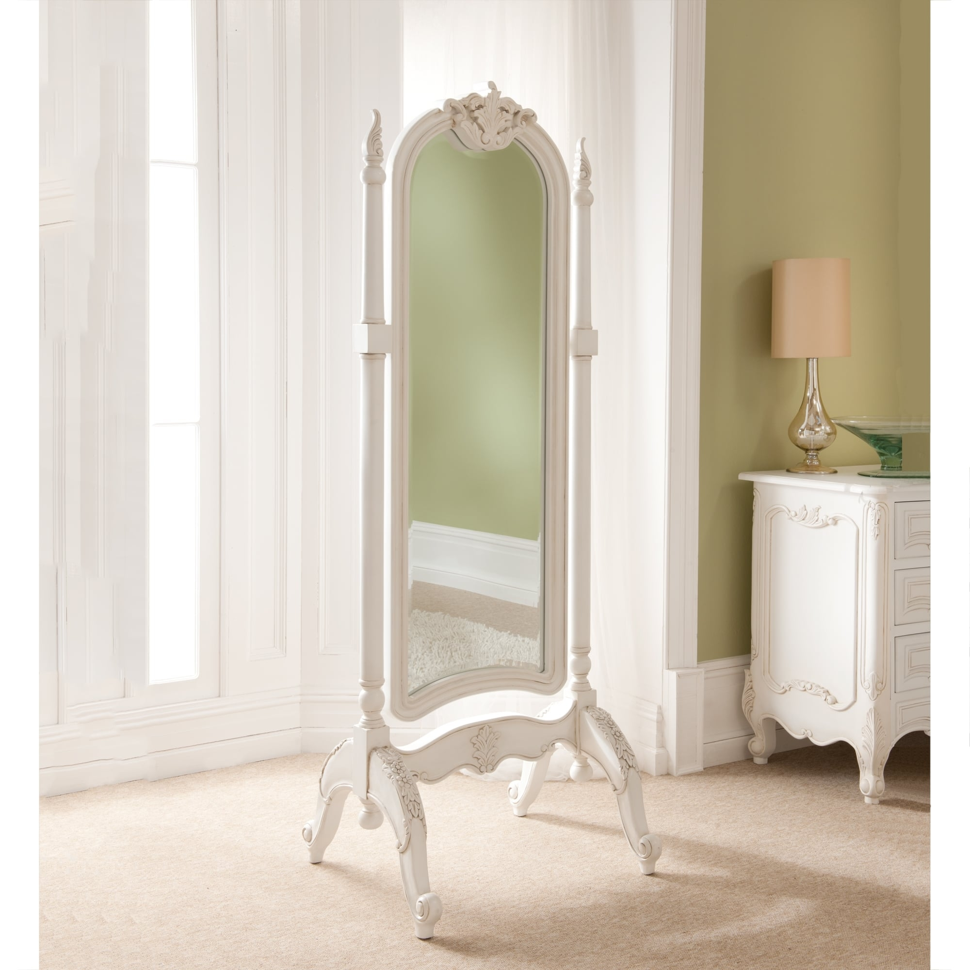 Rococo Antique French Cheval Mirror Throughout French Chic Mirror (Image 12 of 15)